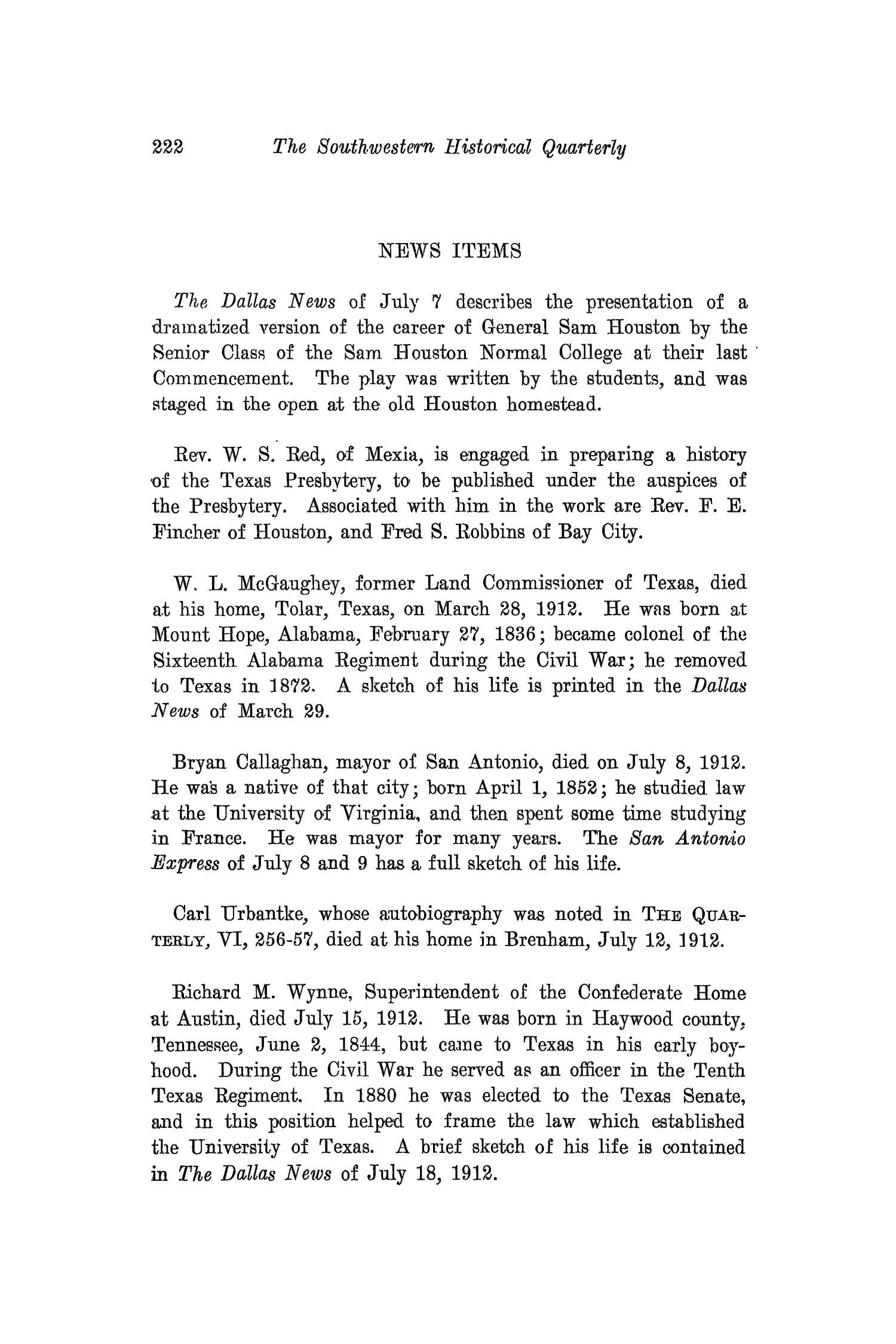 The Southwestern Historical Quarterly, Volume 16, July 1912 - April, 1913                                                                                                      222