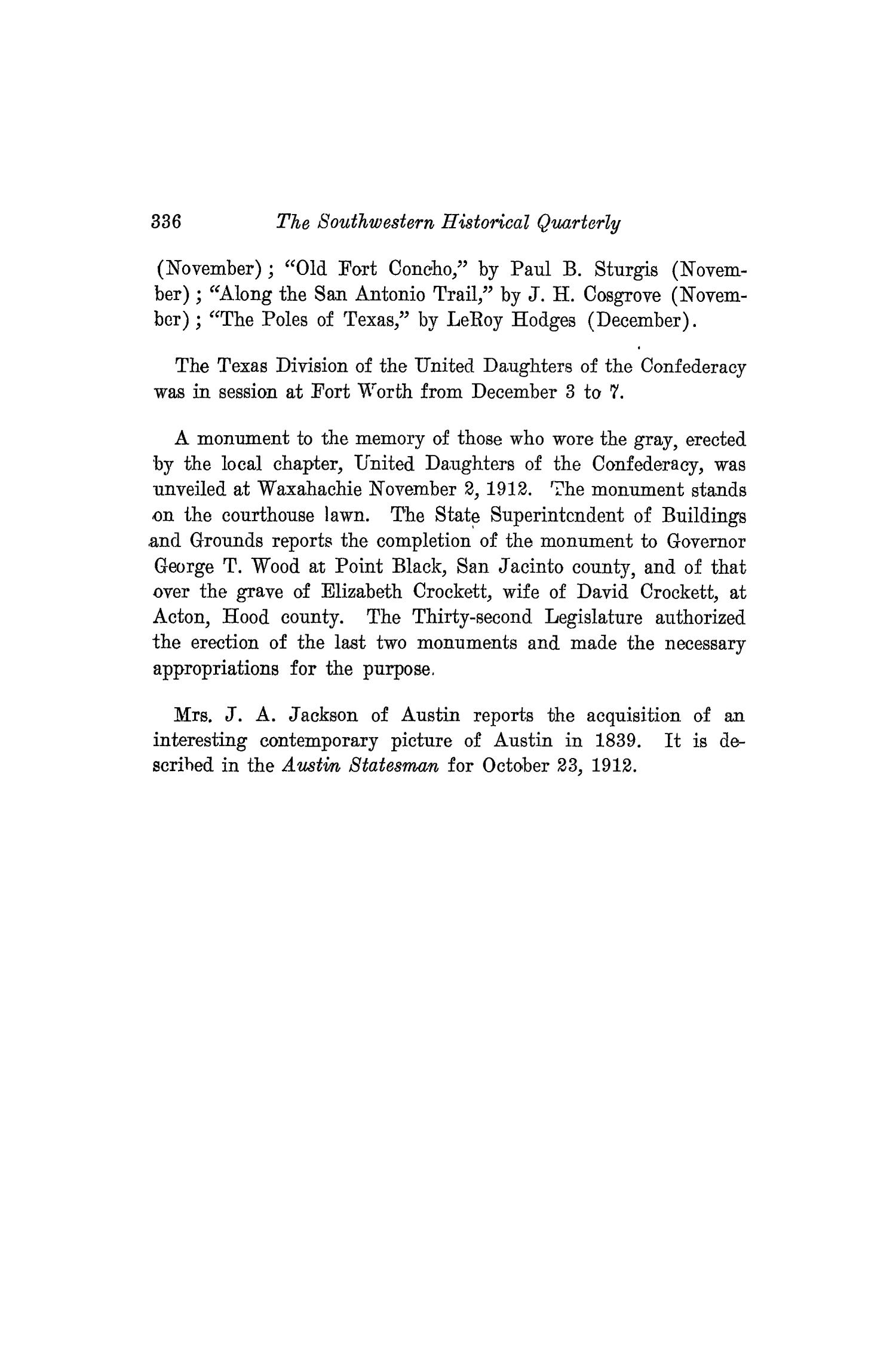 The Southwestern Historical Quarterly, Volume 16, July 1912 - April, 1913                                                                                                      336