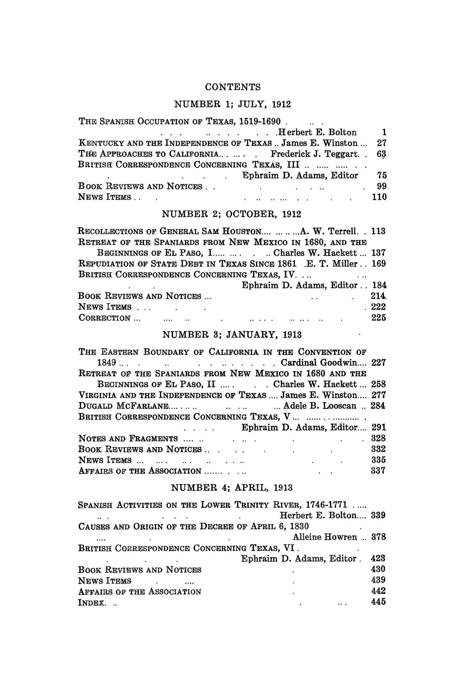 The Southwestern Historical Quarterly, Volume 16, July 1912 - April, 1913                                                                                                      None
