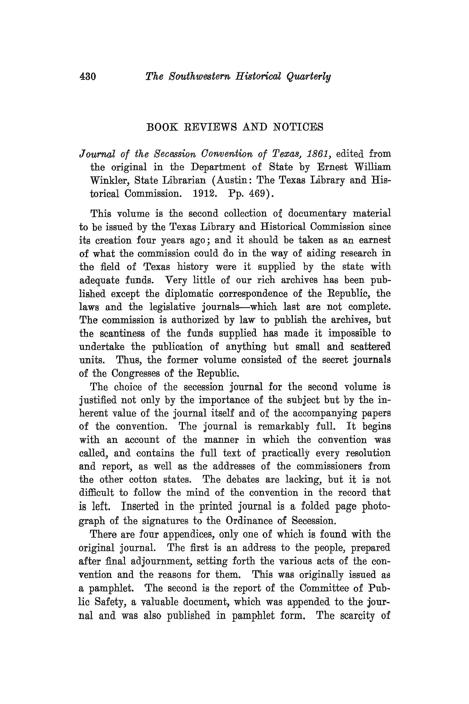 The Southwestern Historical Quarterly, Volume 16, July 1912 - April, 1913                                                                                                      430