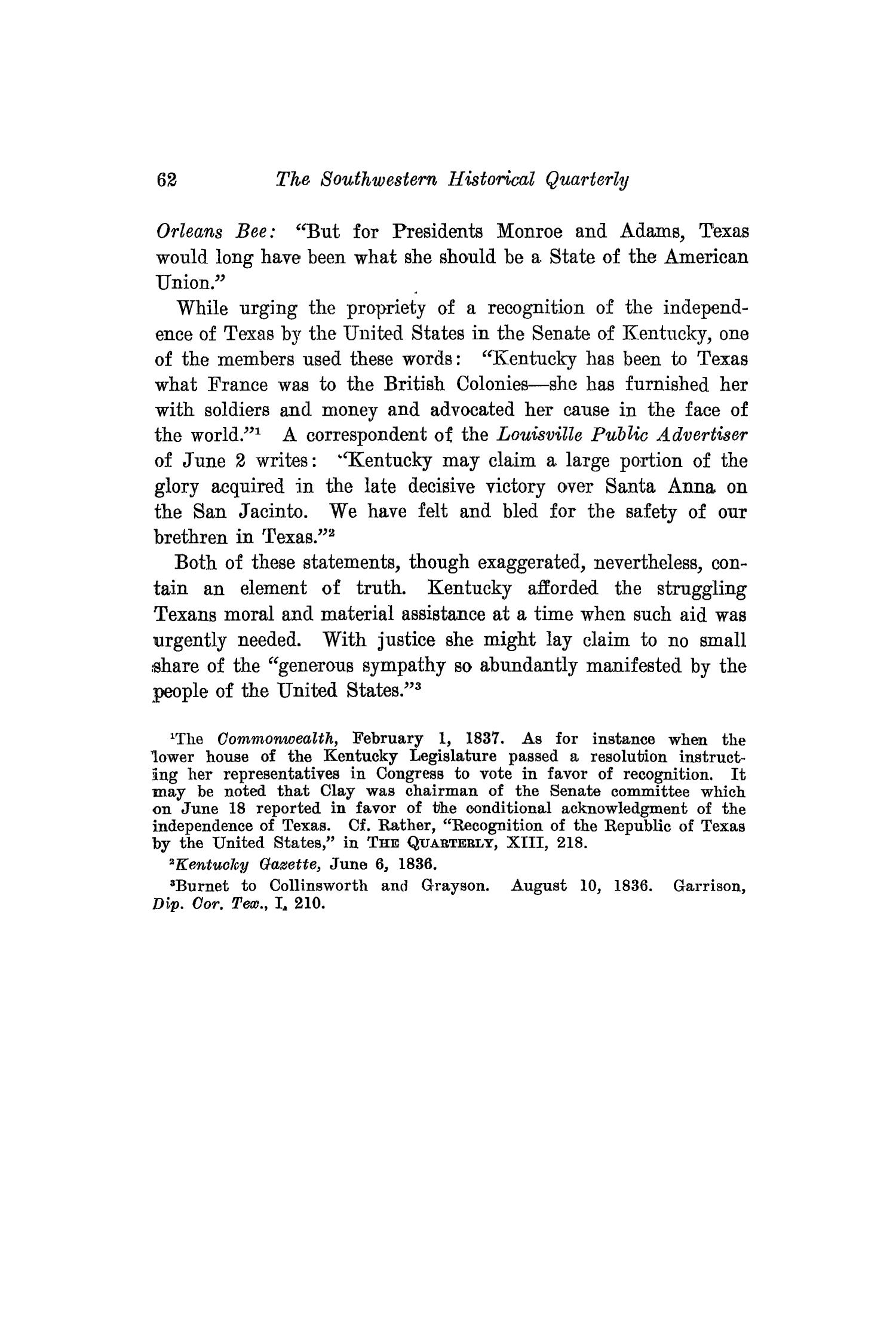 The Southwestern Historical Quarterly, Volume 16, July 1912 - April, 1913                                                                                                      62