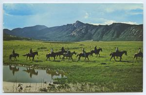 Primary view of object titled '[Postcard of Mountain Horseback Riding]'.