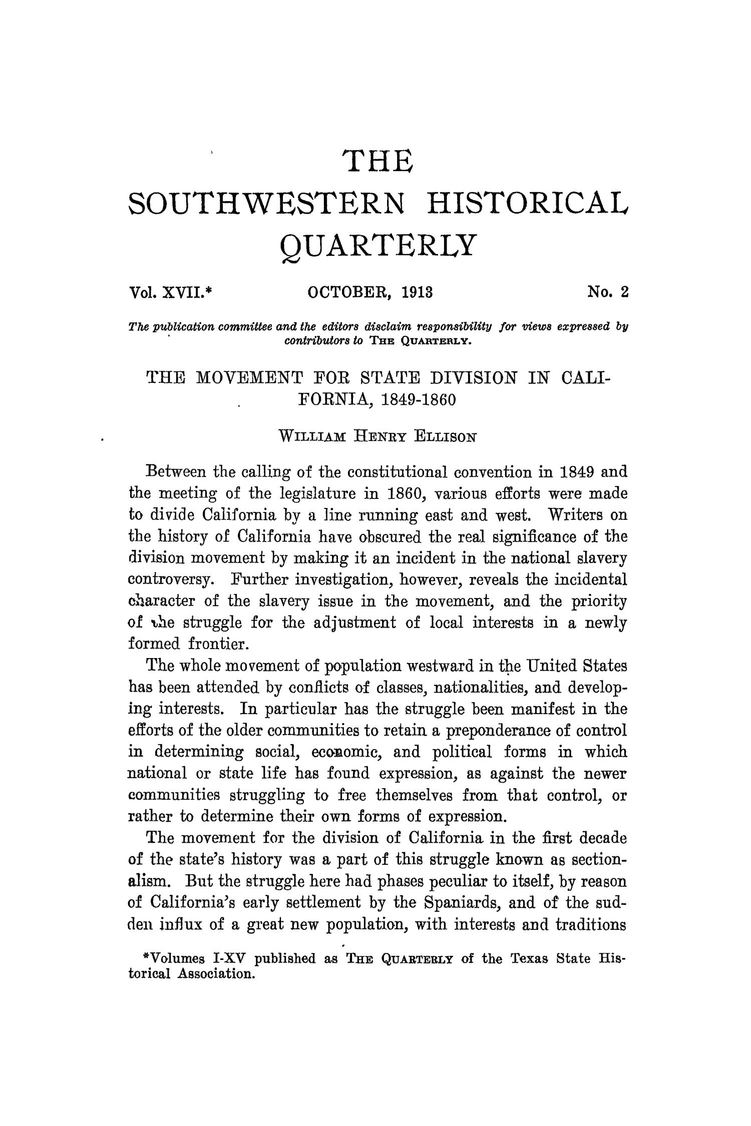 The Southwestern Historical Quarterly, Volume 17, July 1913 - April, 1914                                                                                                      101