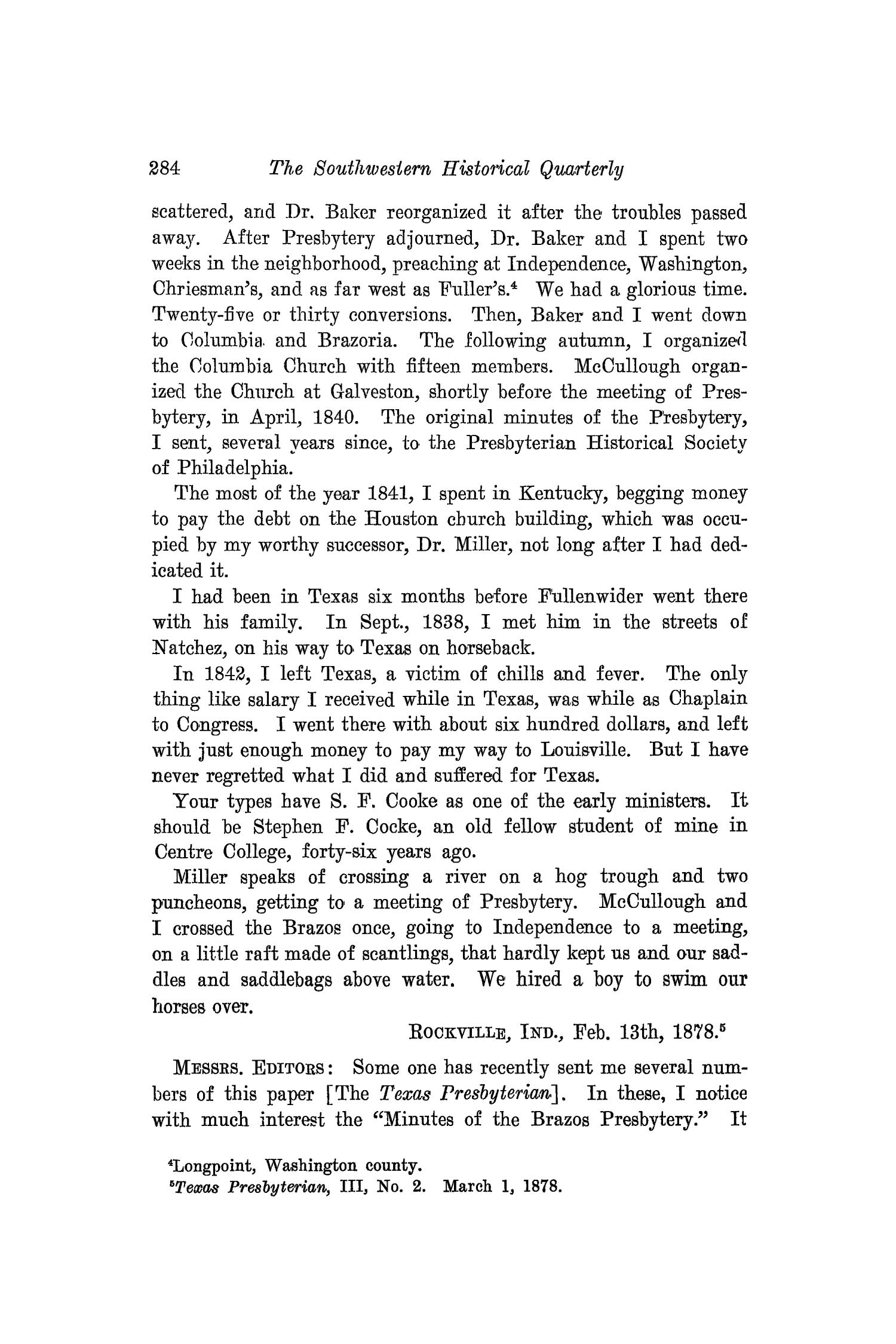 The Southwestern Historical Quarterly, Volume 17, July 1913 - April, 1914                                                                                                      284