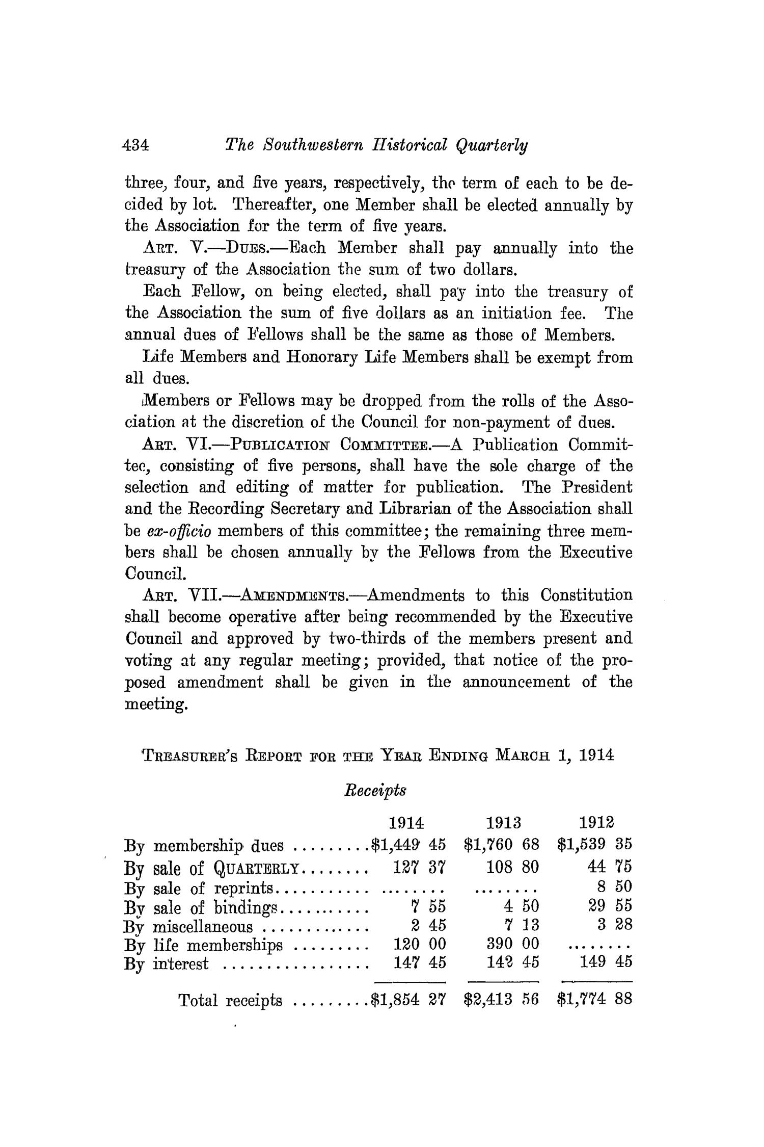 The Southwestern Historical Quarterly, Volume 17, July 1913 - April, 1914                                                                                                      434