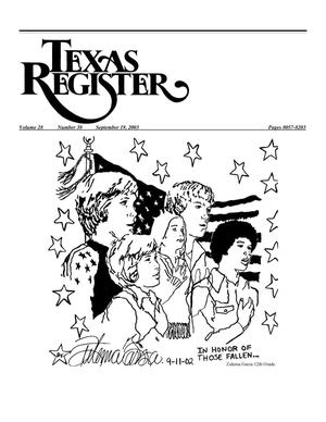 Primary view of object titled 'Texas Register, Volume 28, Number 38, Pages 8057-8204, September 19, 2003'.