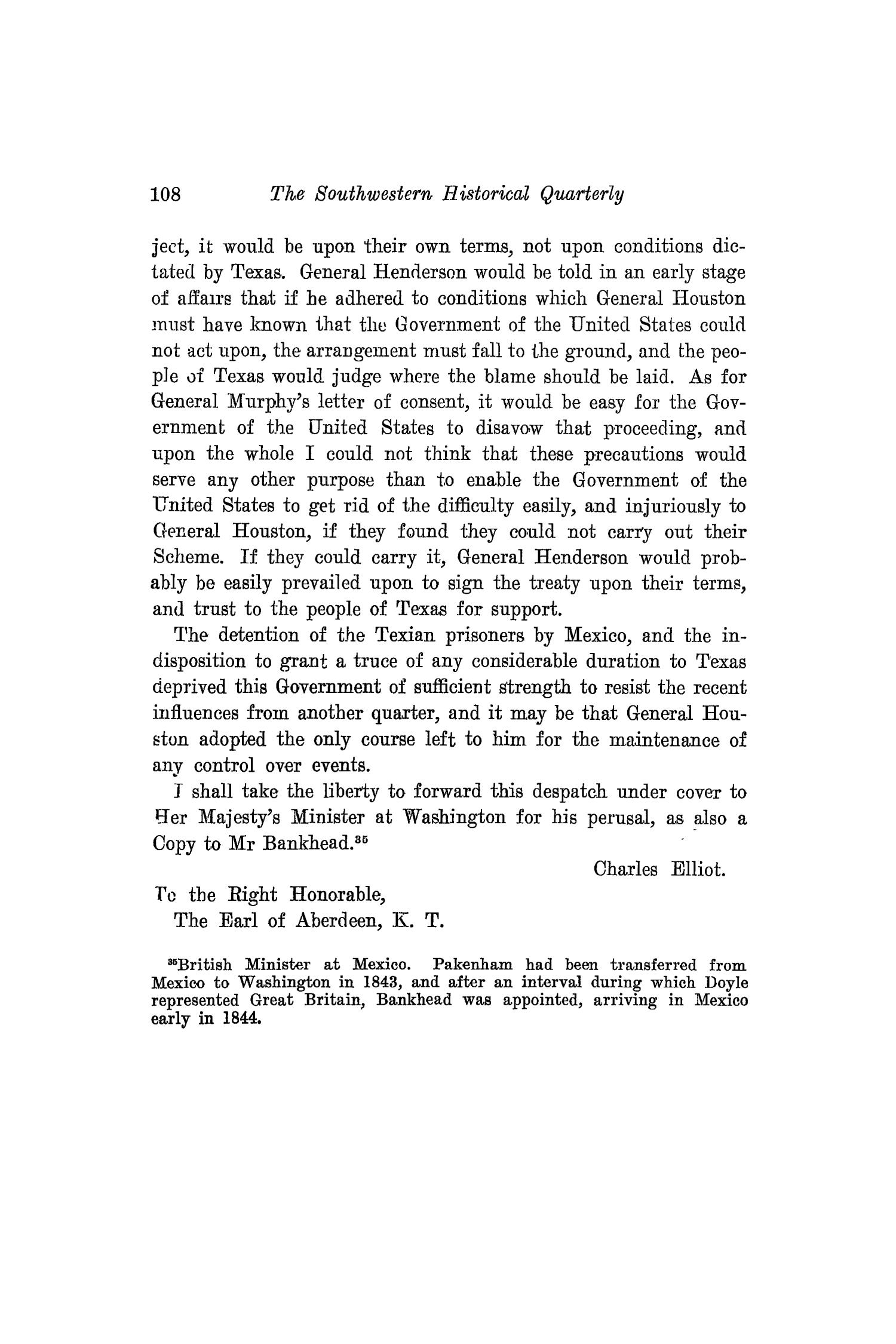 The Southwestern Historical Quarterly, Volume 18, July 1914 - April, 1915                                                                                                      108