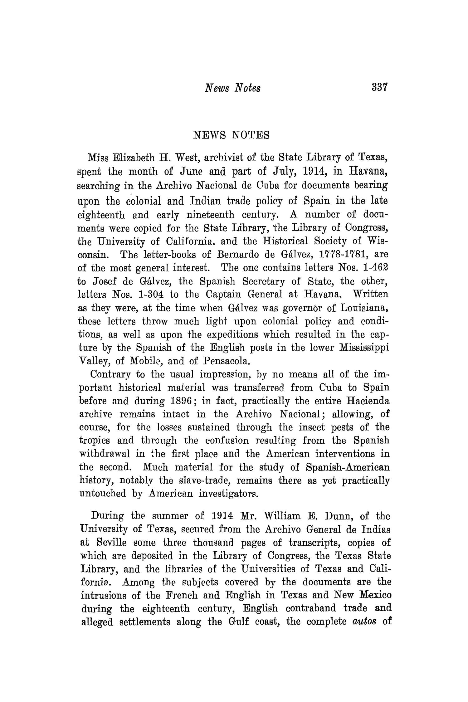 The Southwestern Historical Quarterly, Volume 18, July 1914 - April, 1915                                                                                                      337