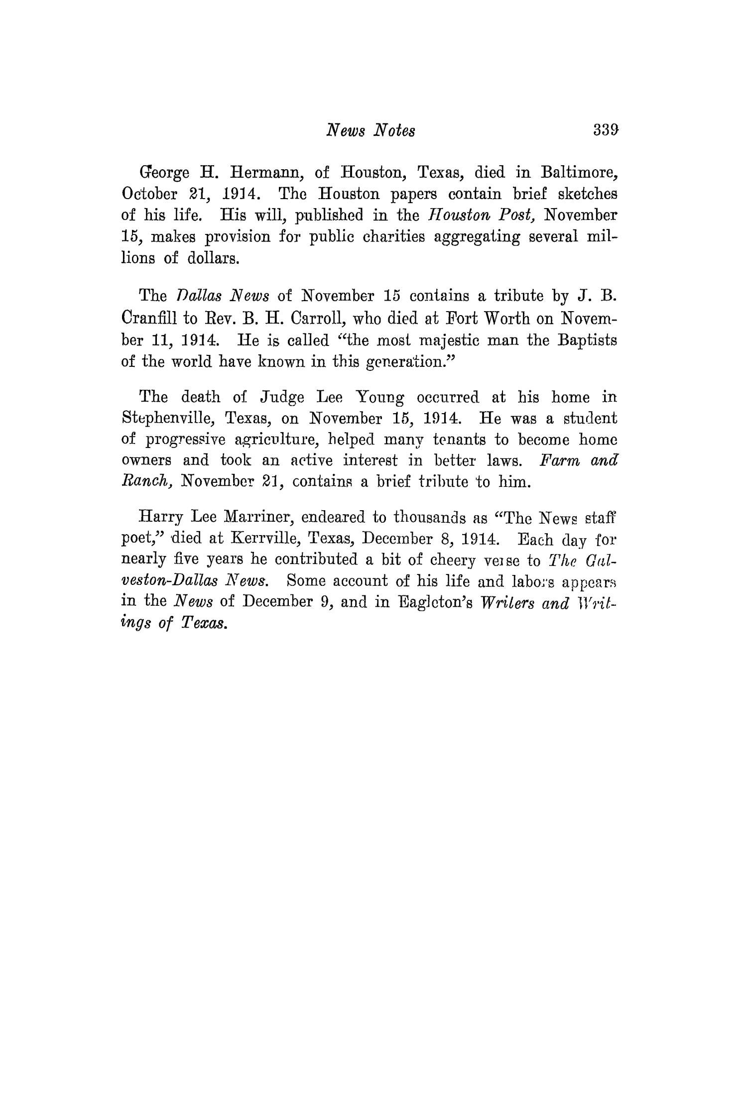 The Southwestern Historical Quarterly, Volume 18, July 1914 - April, 1915                                                                                                      339