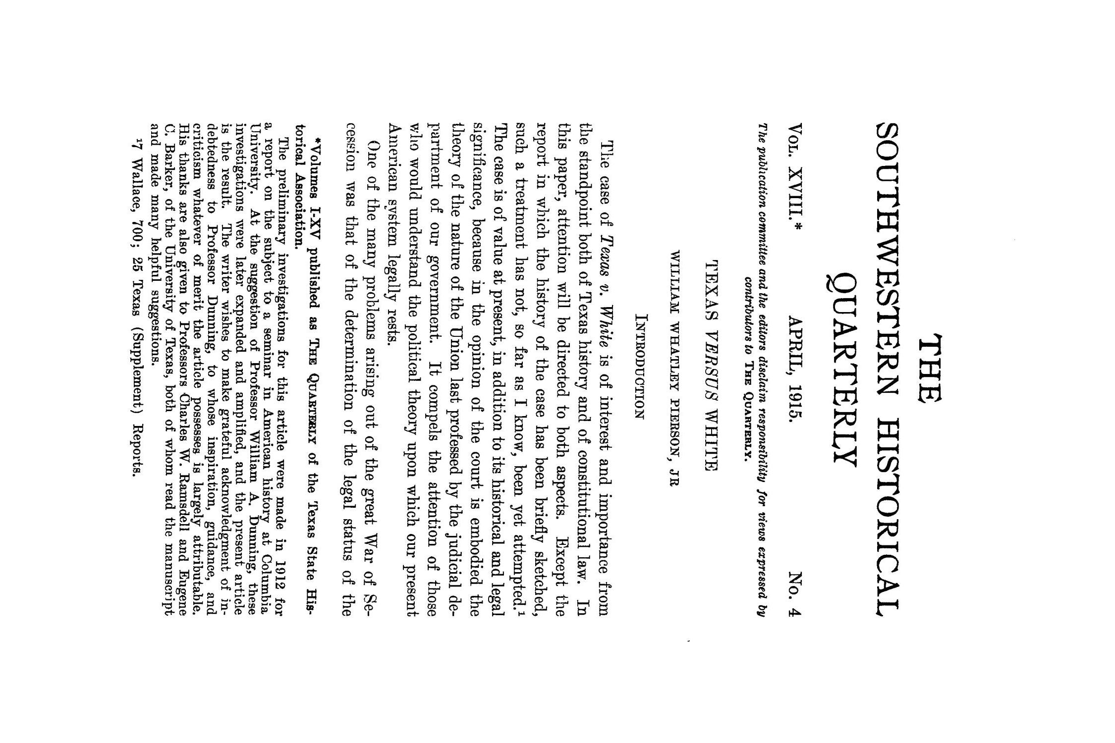 The Southwestern Historical Quarterly, Volume 18, July 1914 - April, 1915                                                                                                      341