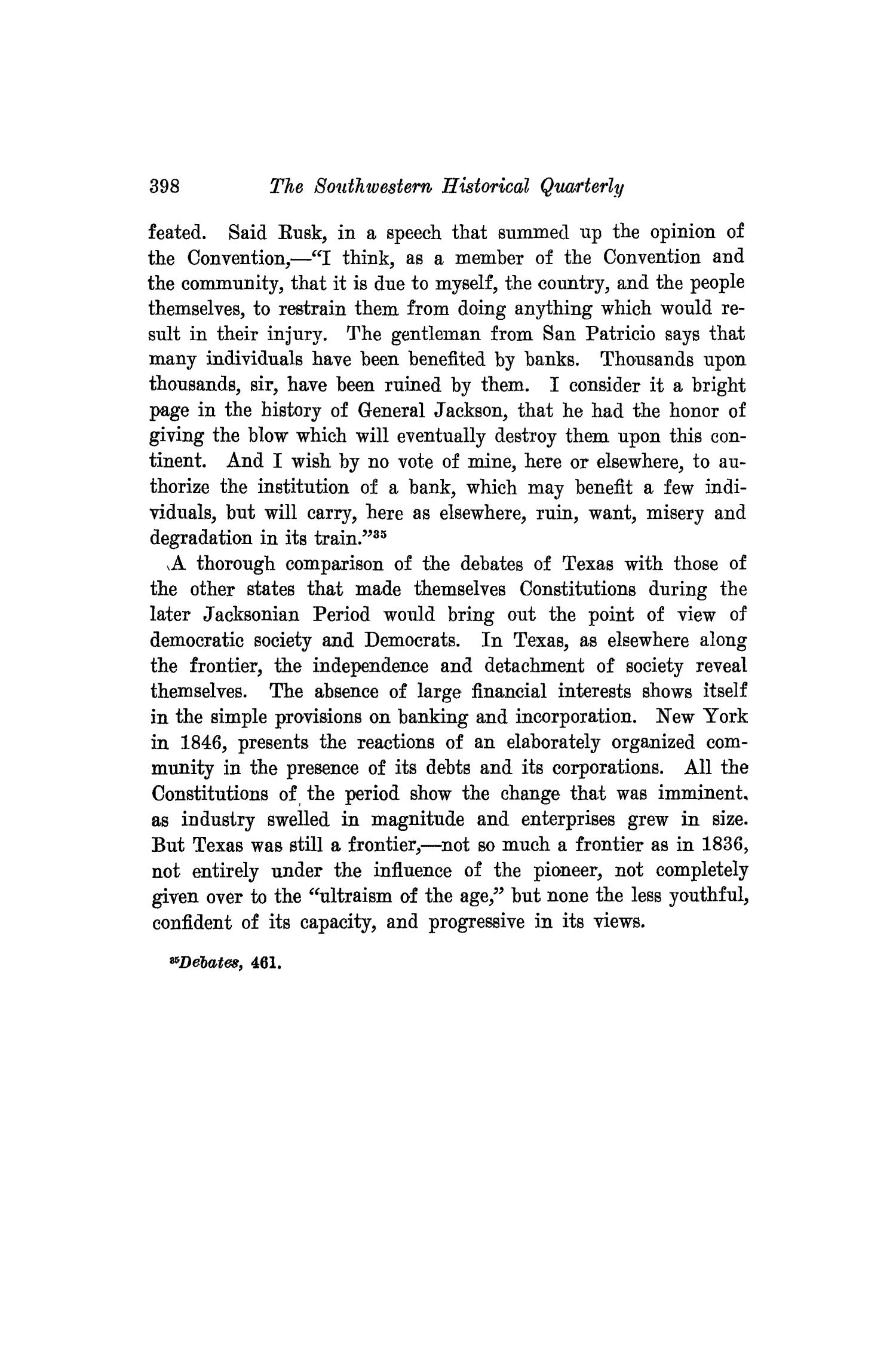 The Southwestern Historical Quarterly, Volume 18, July 1914 - April, 1915                                                                                                      398