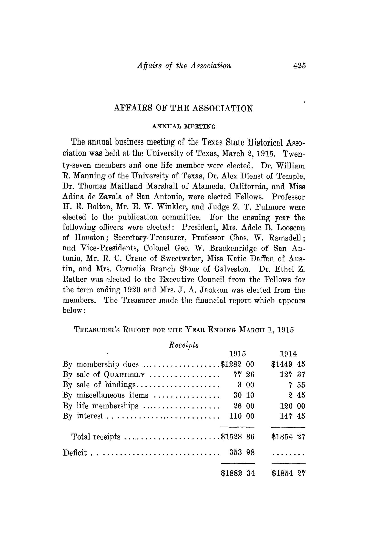 The Southwestern Historical Quarterly, Volume 18, July 1914 - April, 1915                                                                                                      425