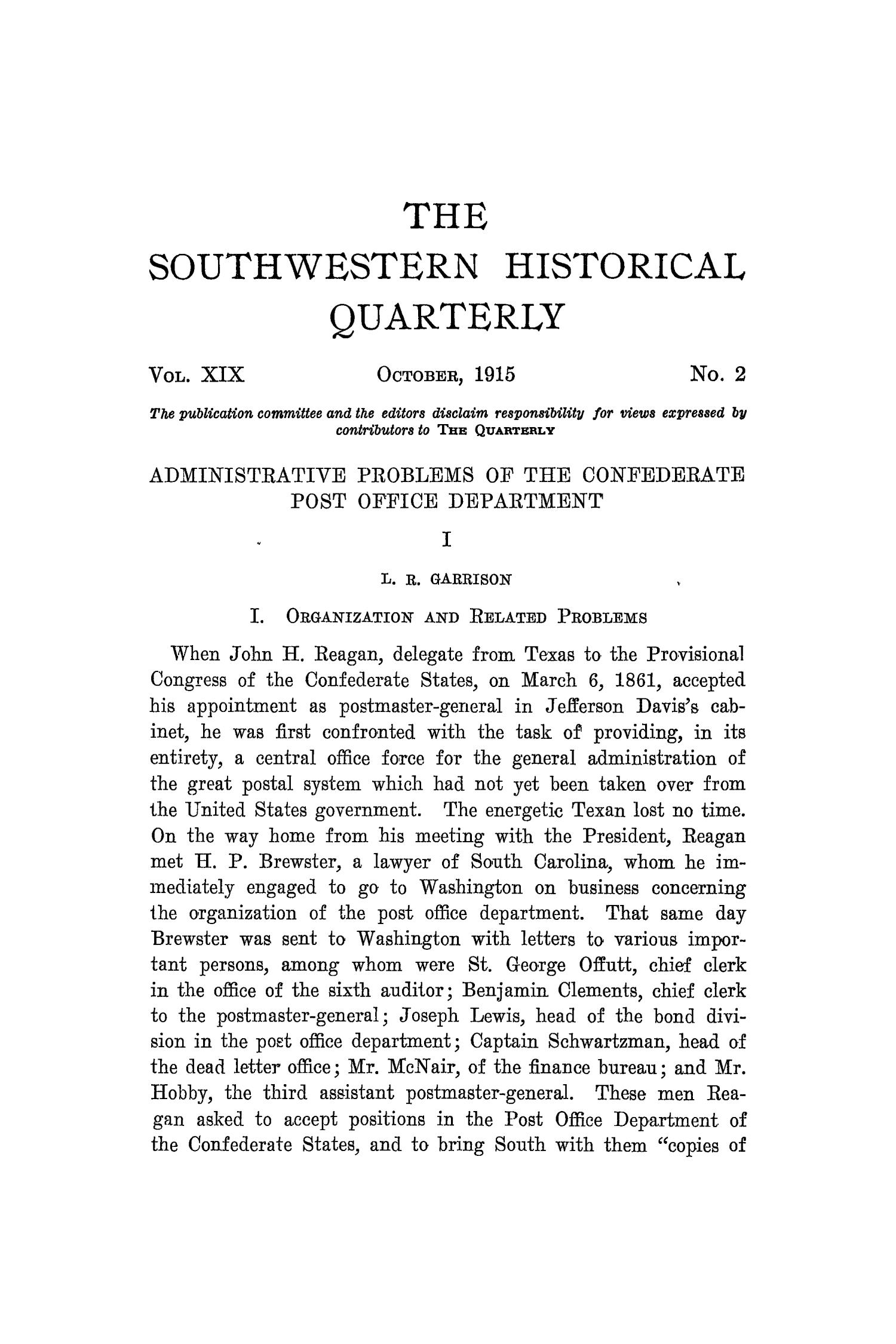 The Southwestern Historical Quarterly, Volume 19, July 1915 - April, 1916                                                                                                      111