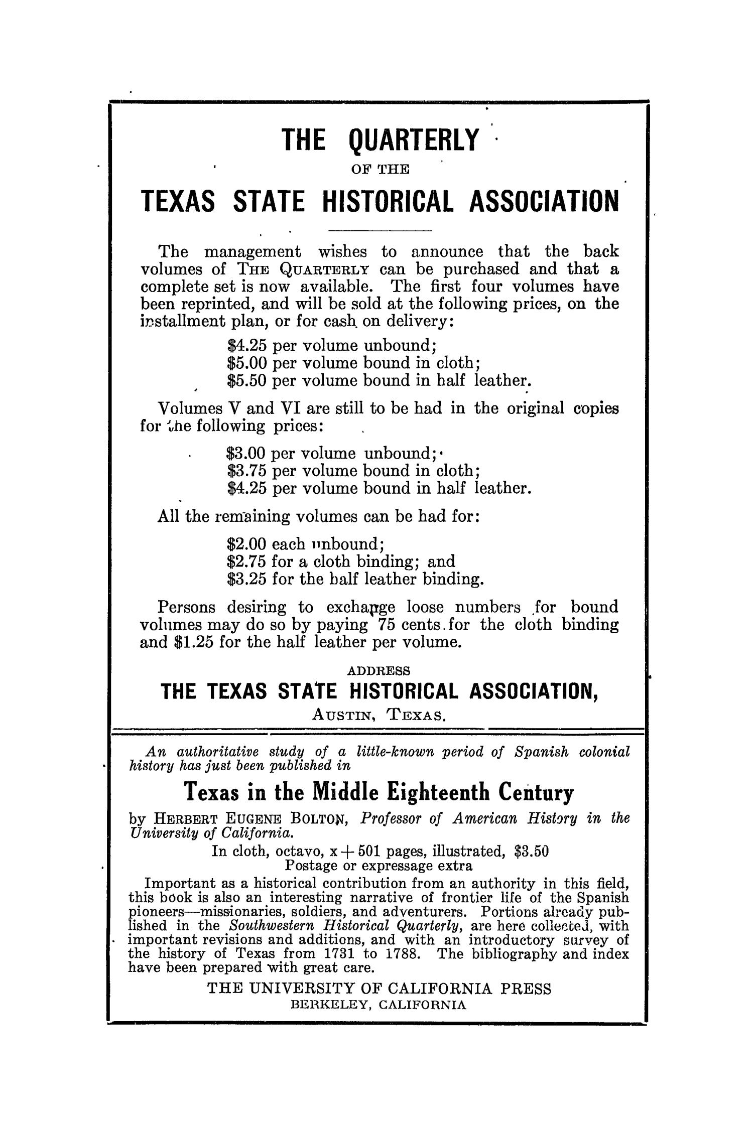 The Southwestern Historical Quarterly, Volume 19, July 1915 - April, 1916                                                                                                      None