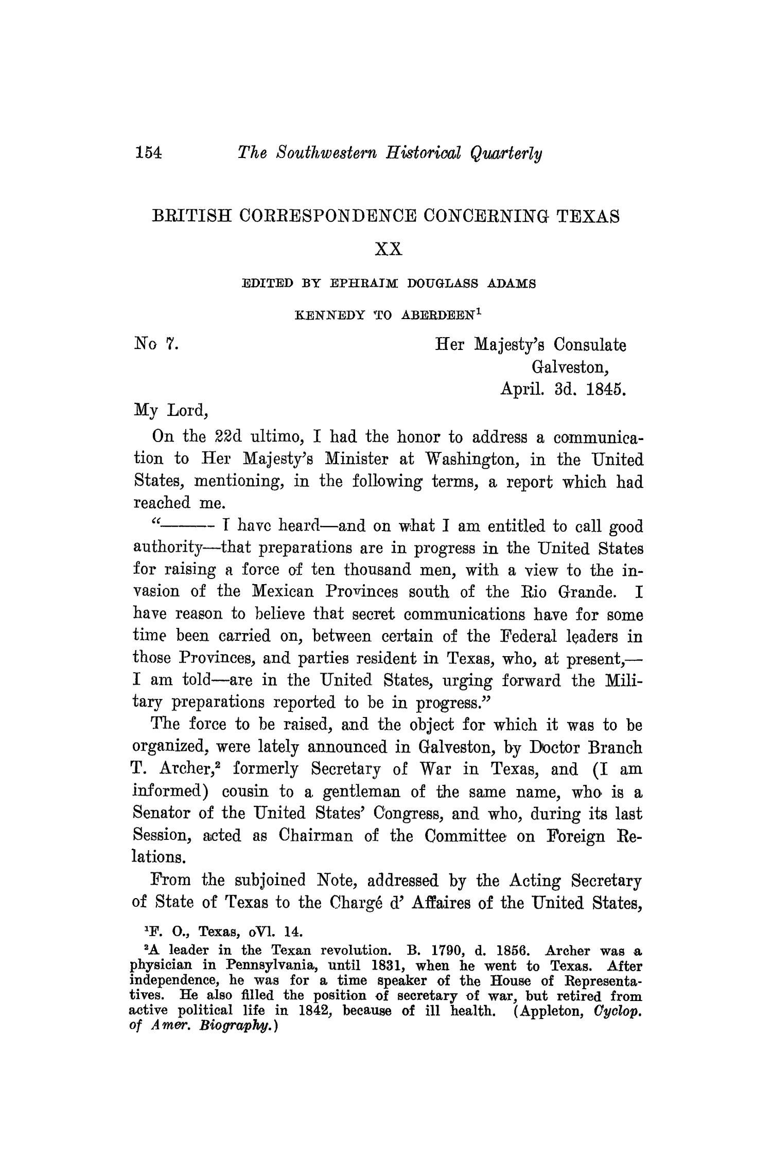 The Southwestern Historical Quarterly, Volume 20, July 1916 - April, 1917                                                                                                      154