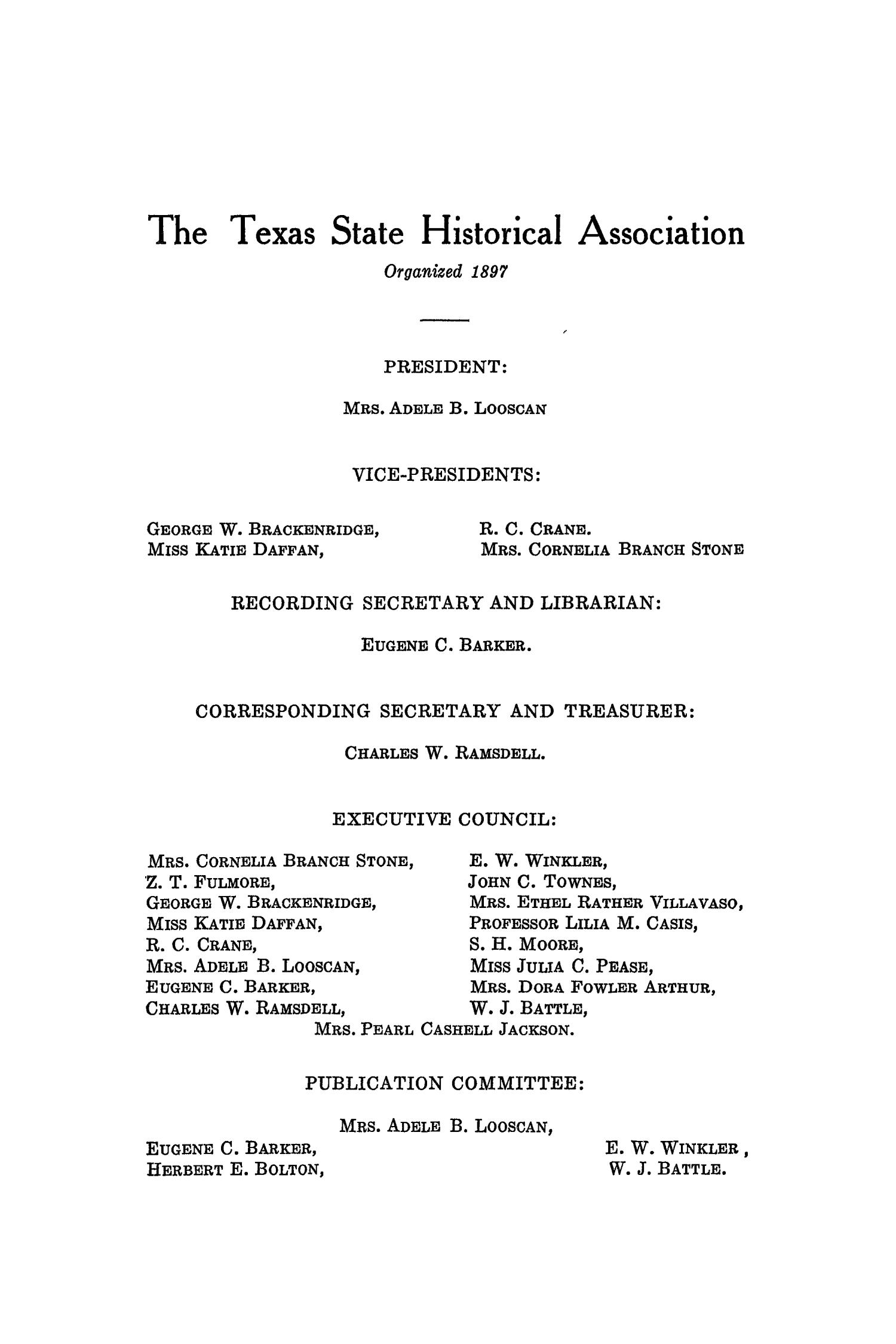 The Southwestern Historical Quarterly, Volume 20, July 1916 - April, 1917                                                                                                      None