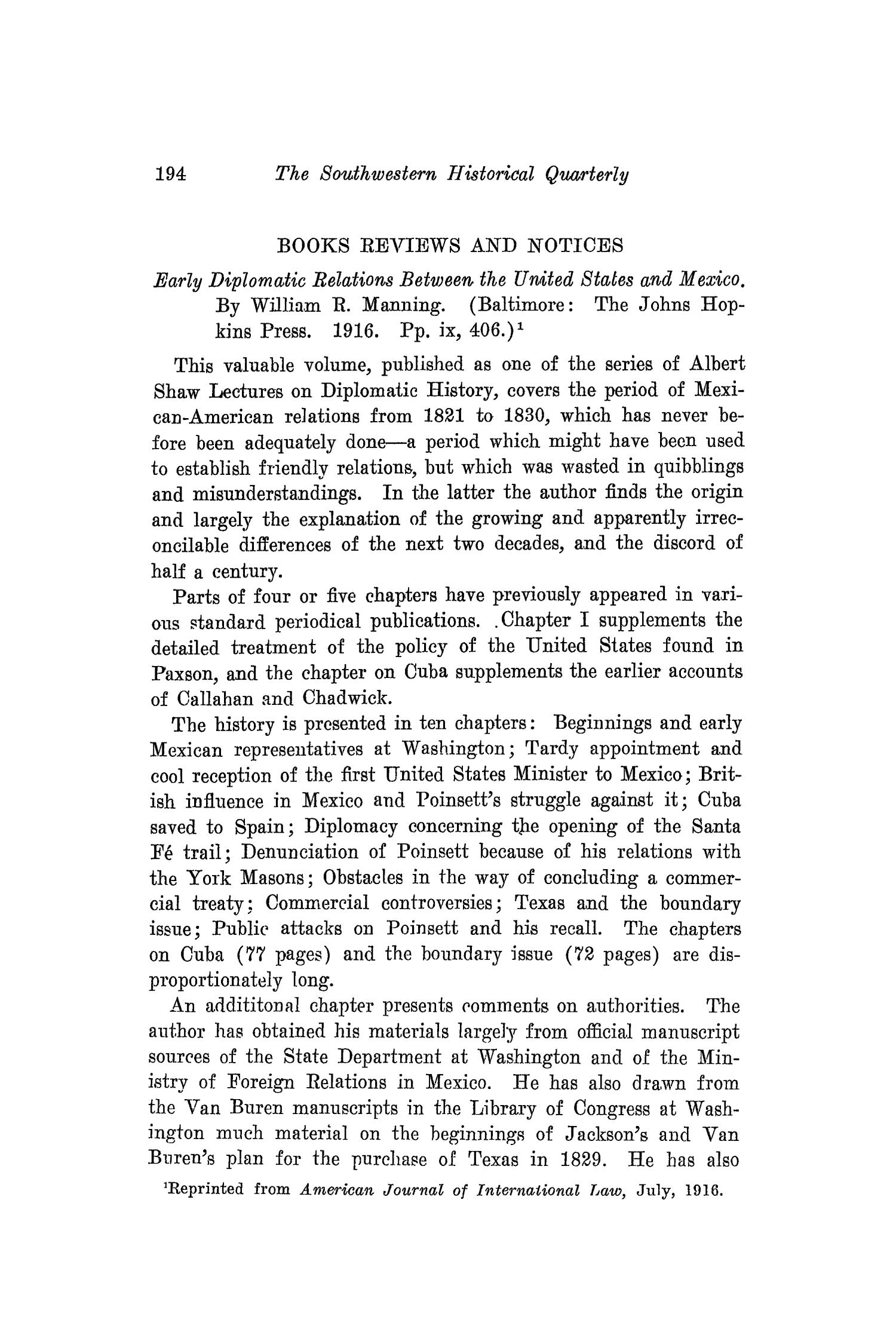 The Southwestern Historical Quarterly, Volume 20, July 1916 - April, 1917                                                                                                      194