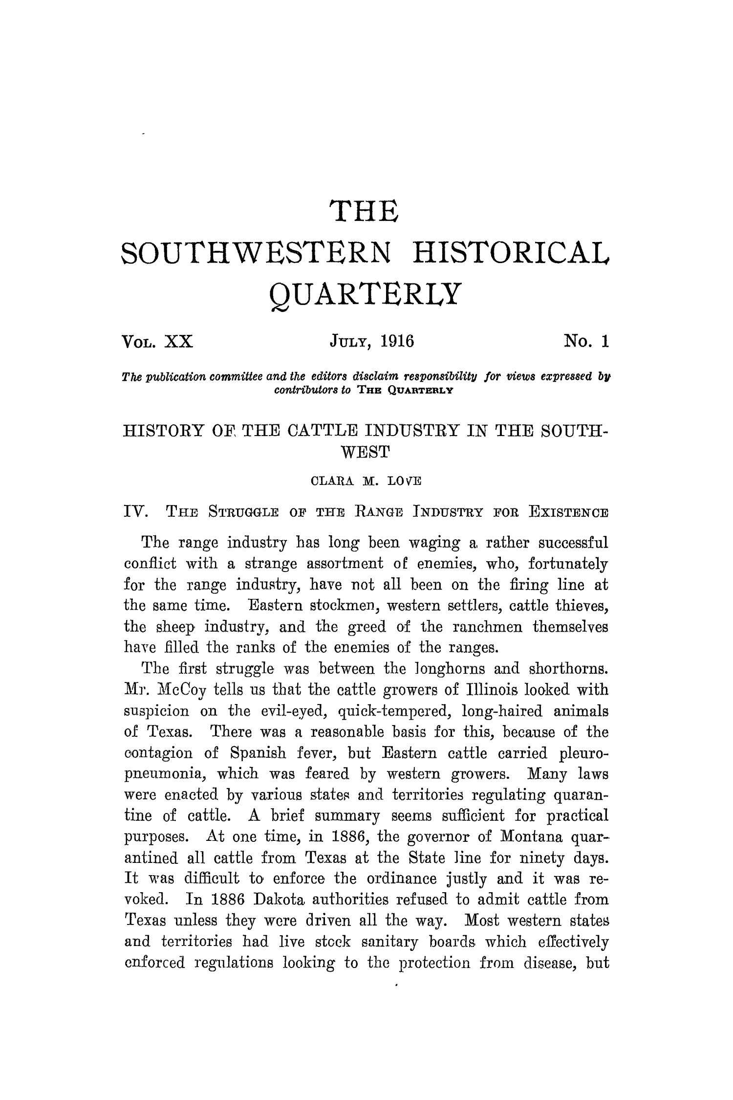 The Southwestern Historical Quarterly, Volume 20, July 1916 - April, 1917                                                                                                      1