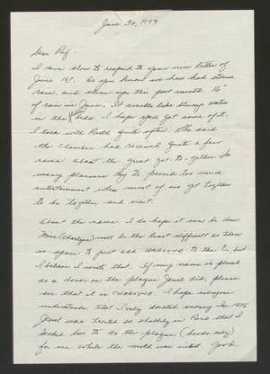 Primary view of object titled '[Letter from Charlyne Creger to Rigdon Edwards, June 30, 1993]'.