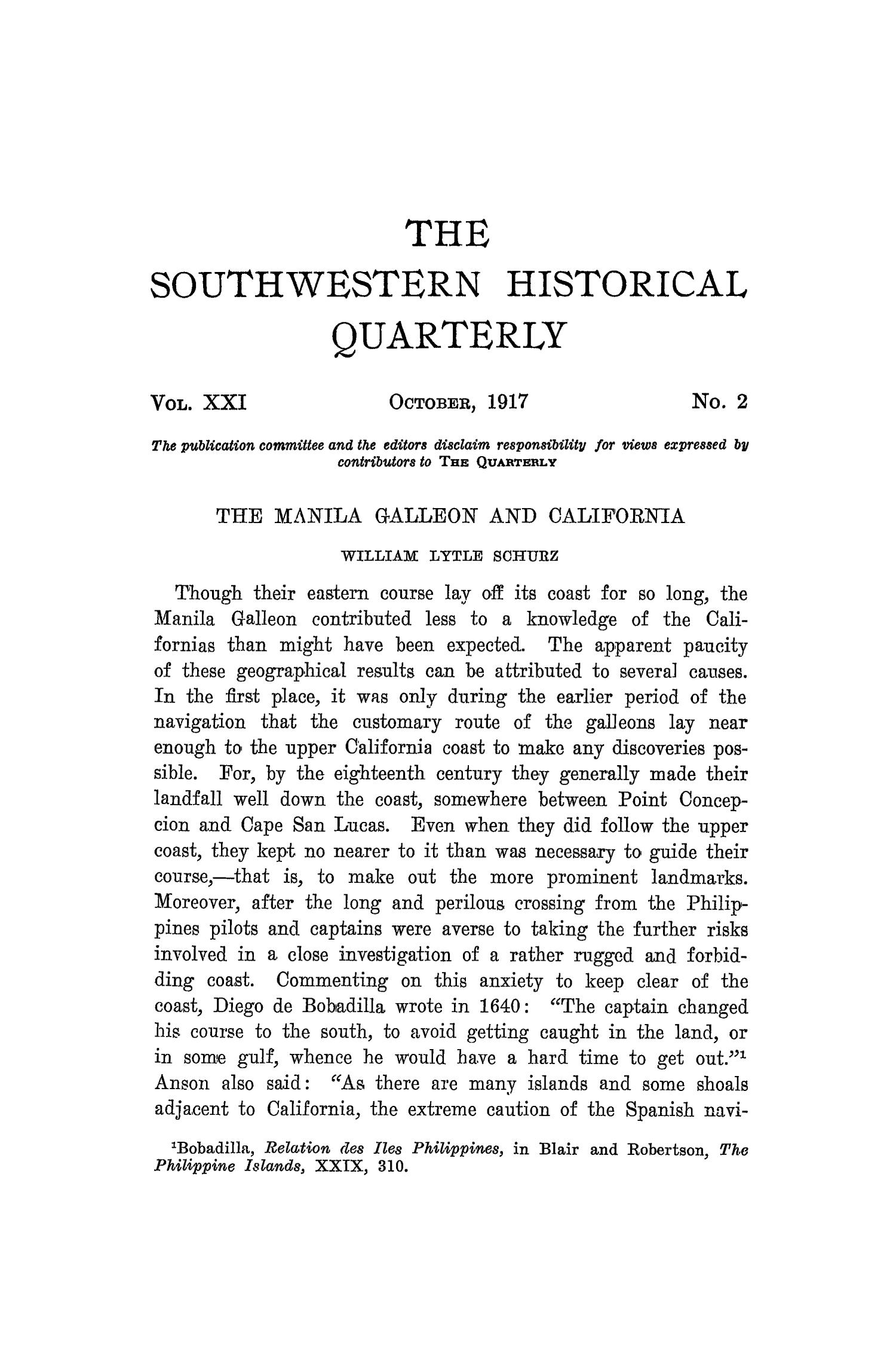 The Southwestern Historical Quarterly, Volume 21, July 1917 - April, 1918                                                                                                      107
