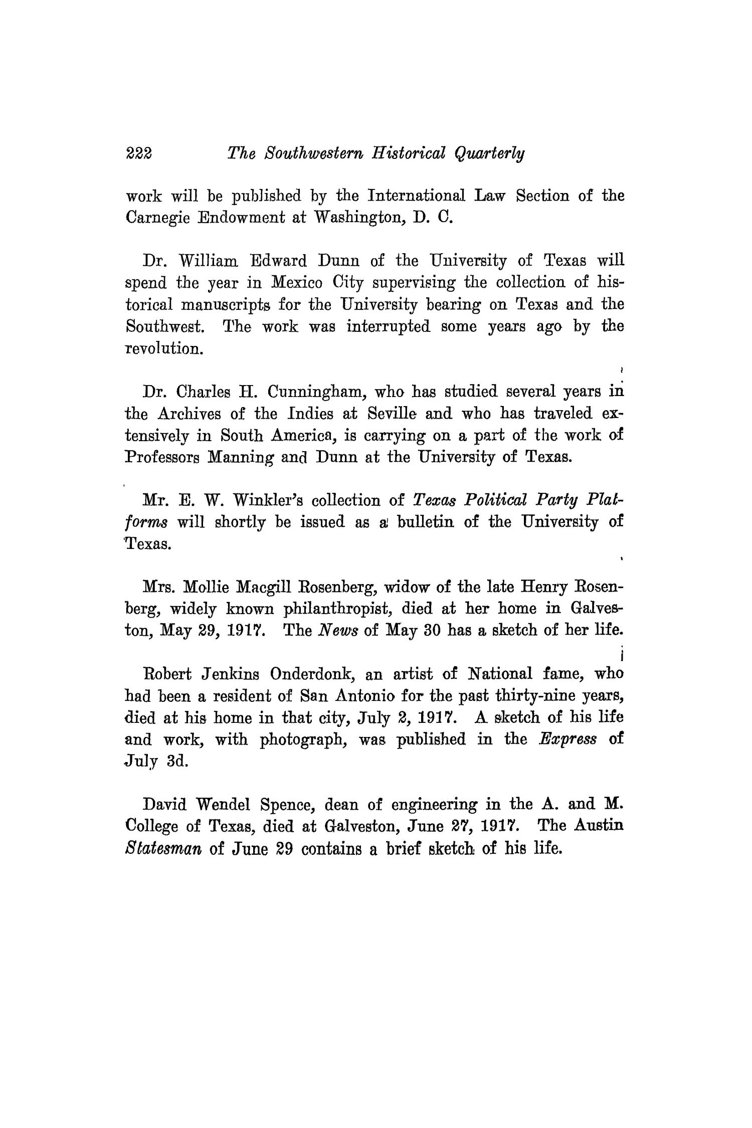 The Southwestern Historical Quarterly, Volume 21, July 1917 - April, 1918                                                                                                      222
