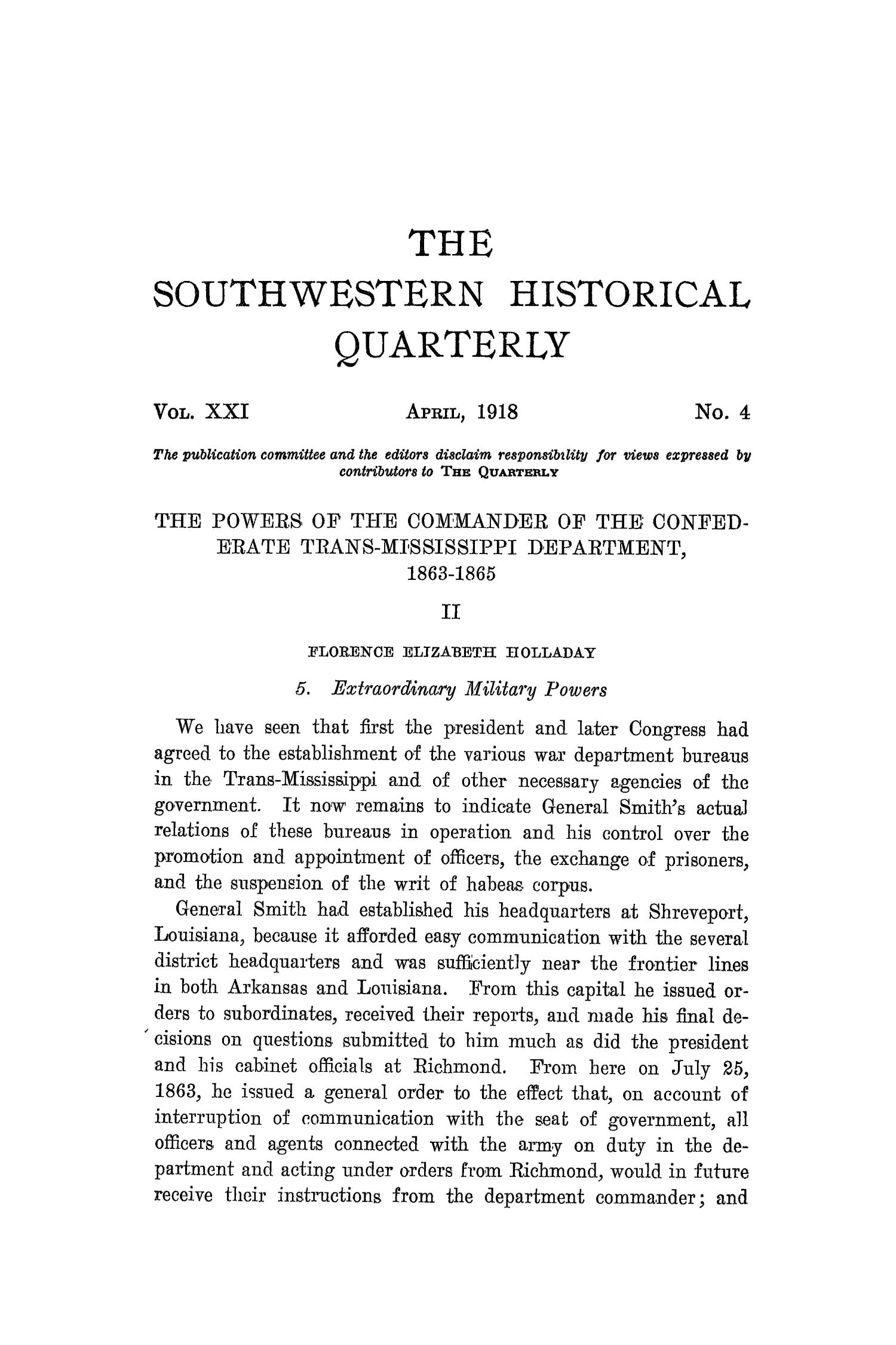 The Southwestern Historical Quarterly, Volume 21, July 1917 - April, 1918                                                                                                      333