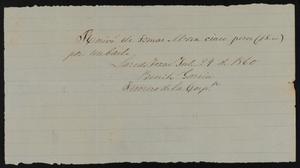 [Receipt #3, 1860]