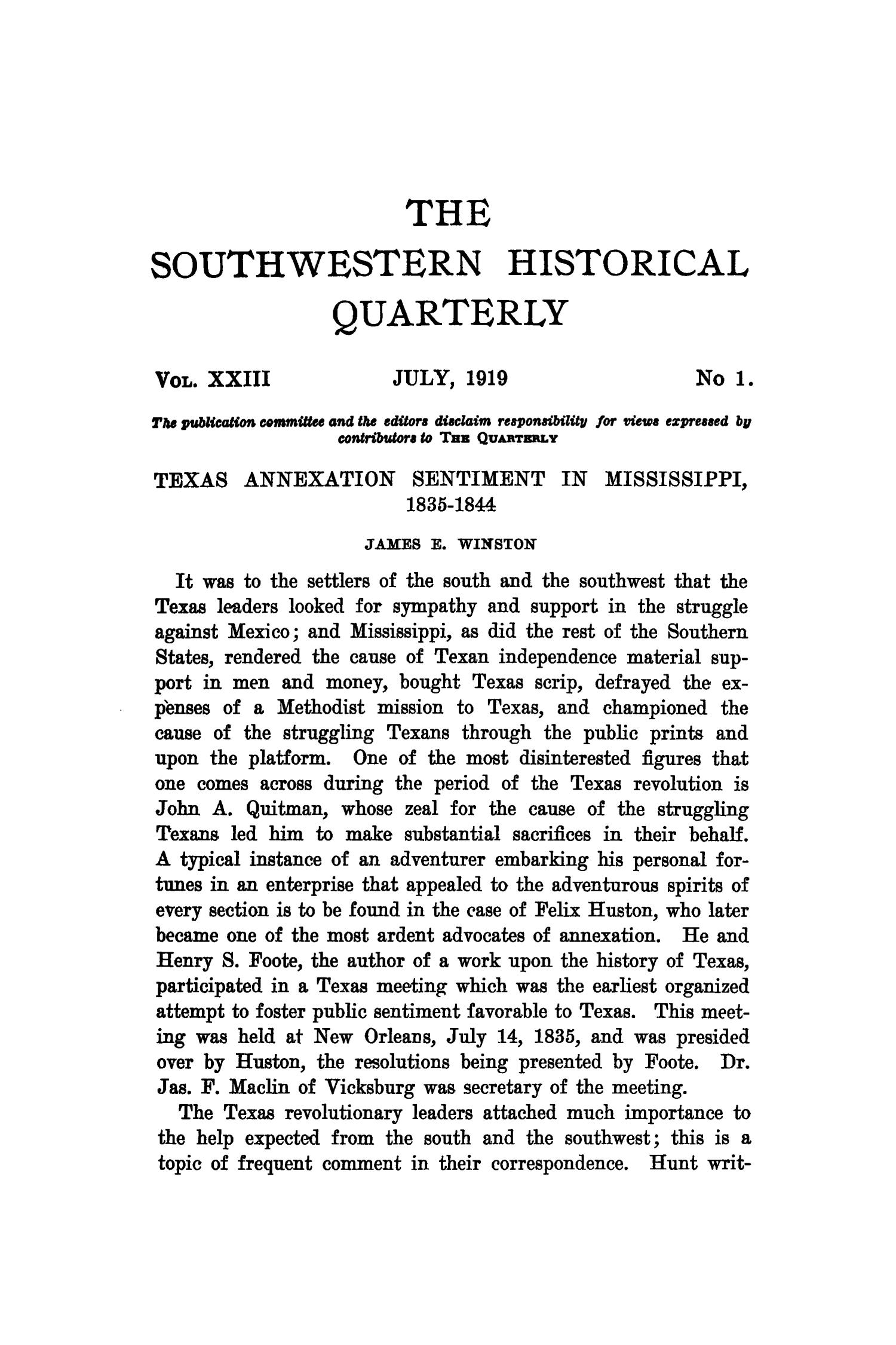 The Southwestern Historical Quarterly, Volume 23, July 1919 - April, 1920                                                                                                      1