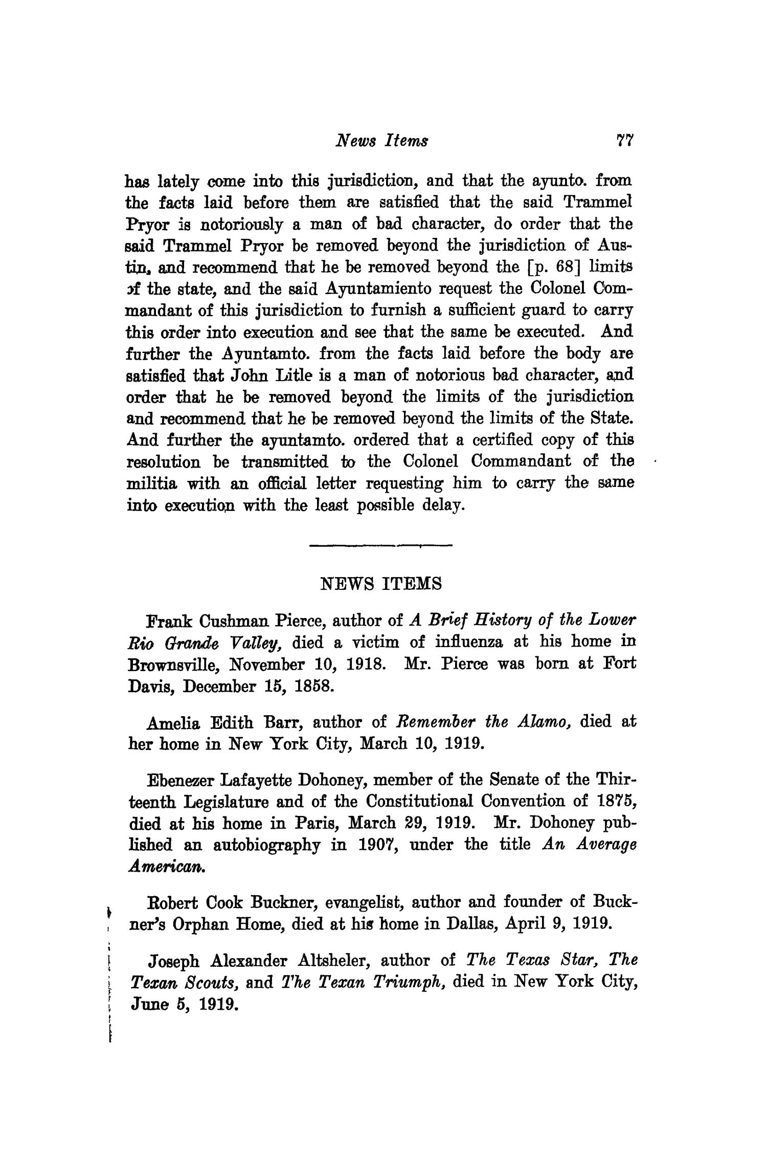 The Southwestern Historical Quarterly, Volume 23, July 1919 - April, 1920                                                                                                      77
