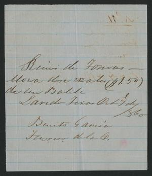Primary view of object titled '[Receipt #11, 1860]'.