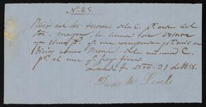 Primary view of object titled '[Receipt #29, 1858]'.