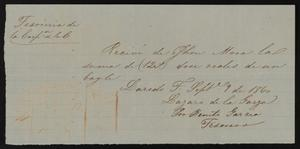 Primary view of object titled '[Receipt #4, 1860]'.