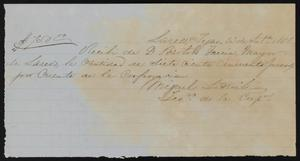Primary view of object titled '[Receipt #1, 1858]'.