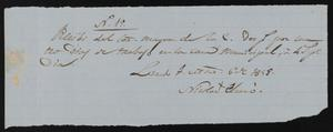 Primary view of object titled '[Receipt #19, 1858]'.