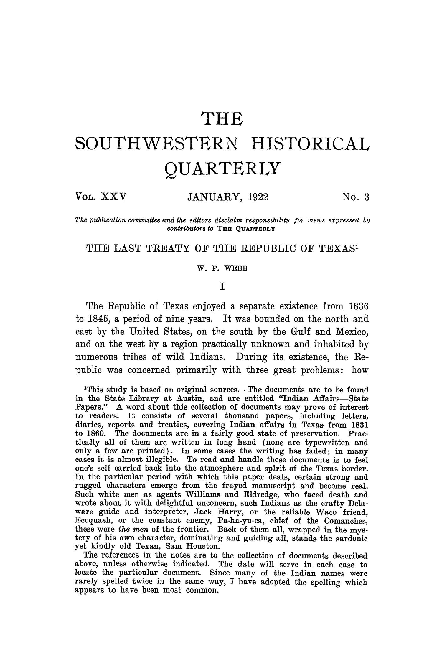 The Southwestern Historical Quarterly, Volume 25, July 1921 - April, 1922                                                                                                      151