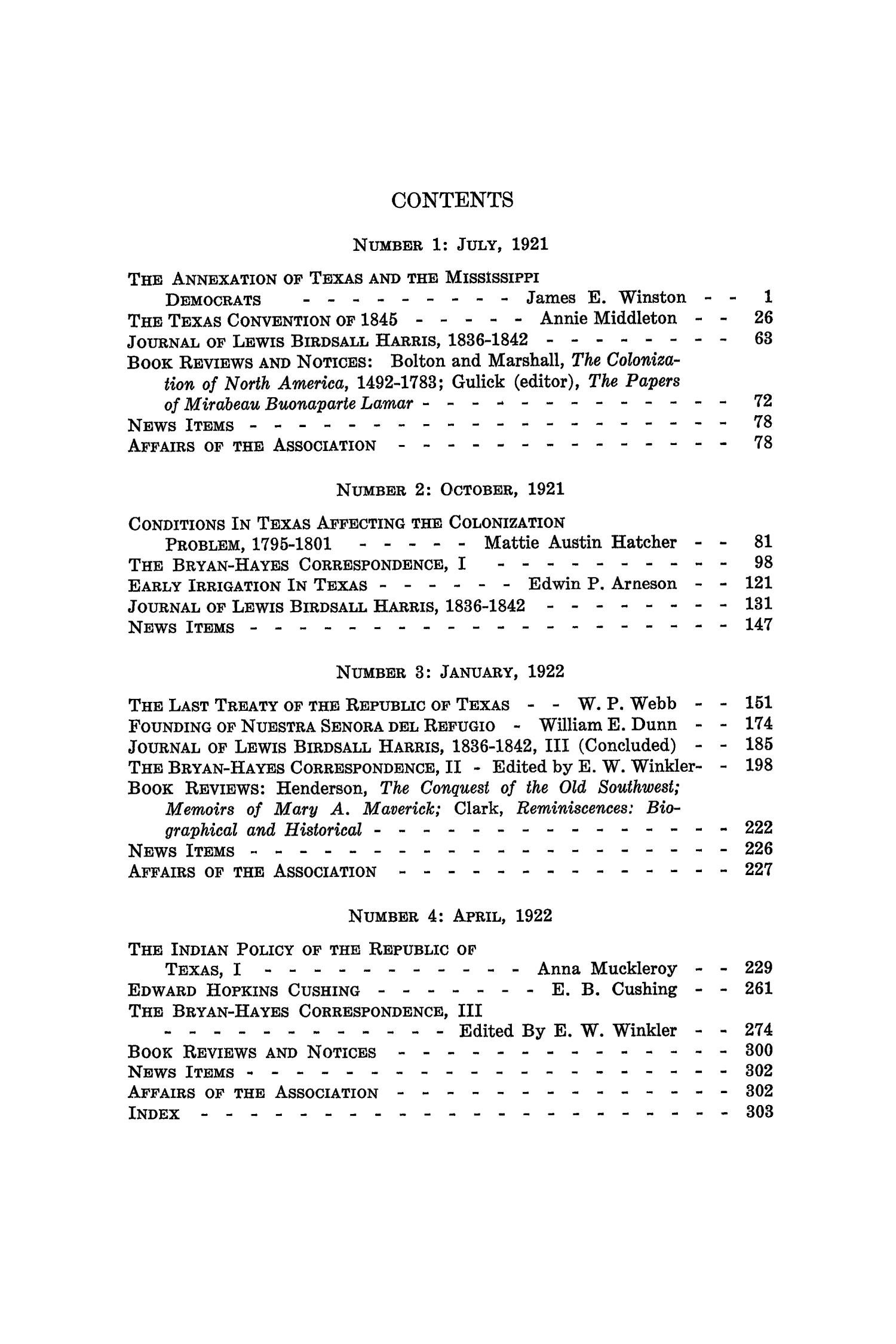 The Southwestern Historical Quarterly, Volume 25, July 1921 - April, 1922                                                                                                      None