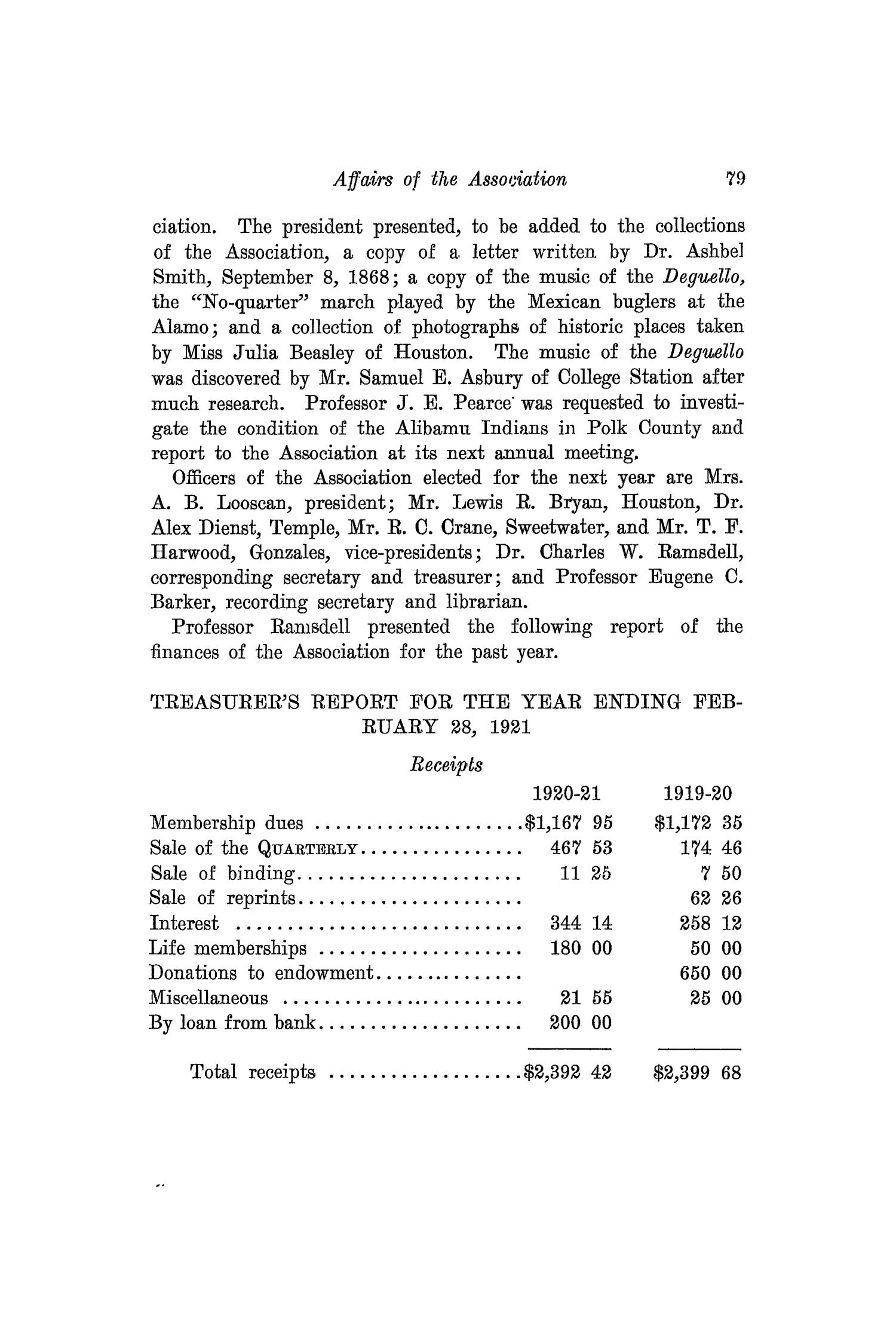 The Southwestern Historical Quarterly, Volume 25, July 1921 - April, 1922                                                                                                      79