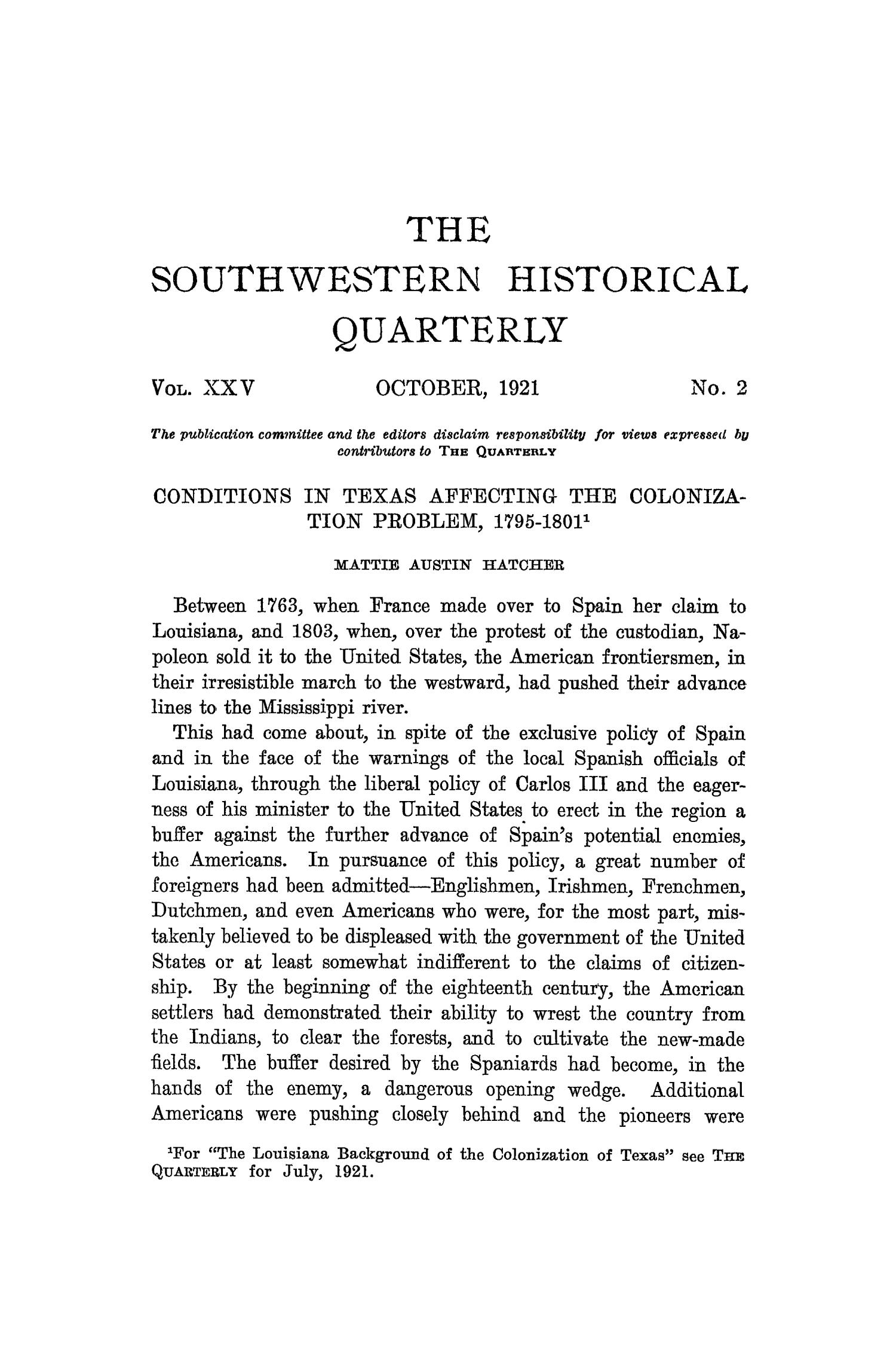 The Southwestern Historical Quarterly, Volume 25, July 1921 - April, 1922                                                                                                      81