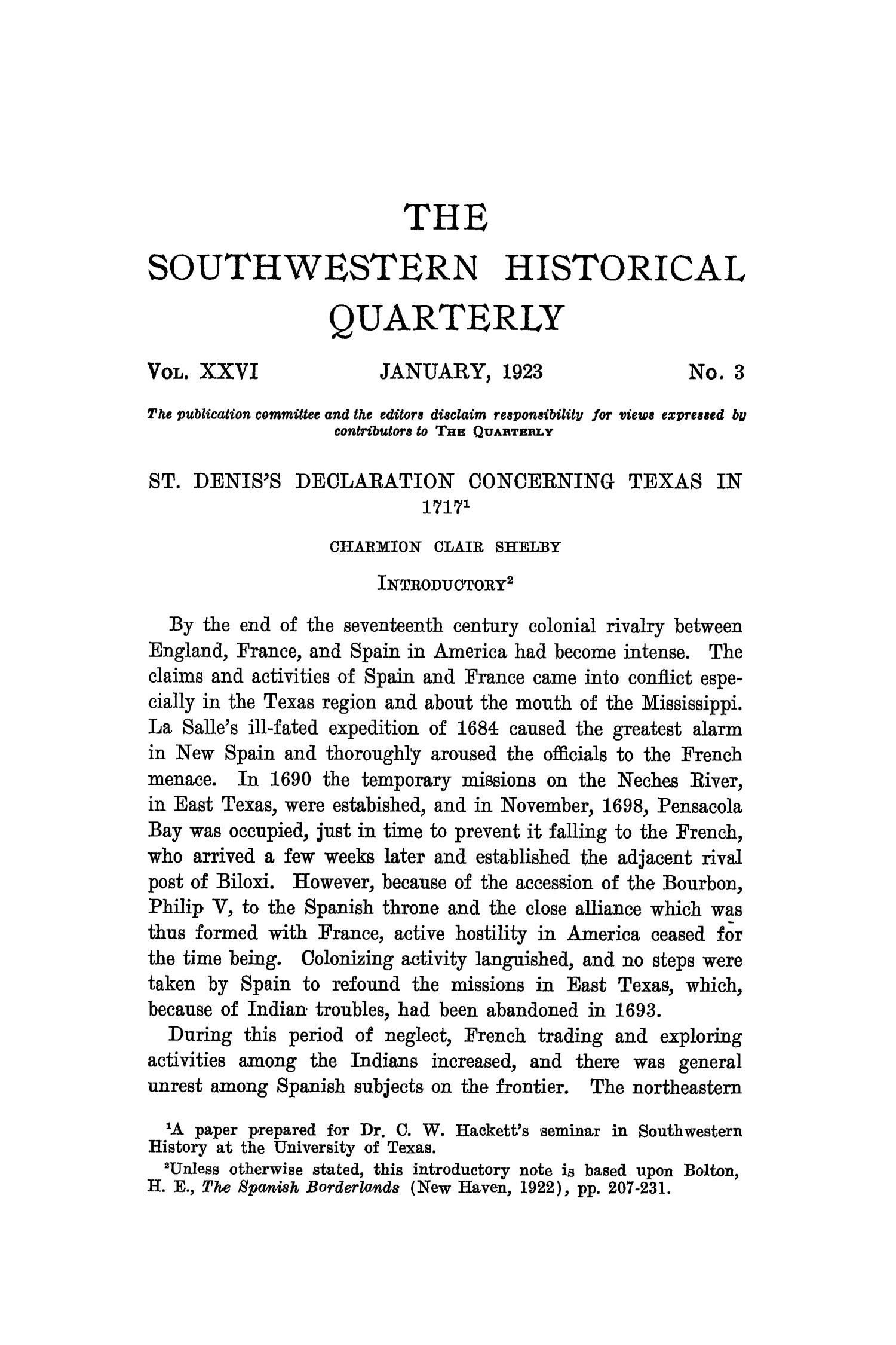 The Southwestern Historical Quarterly, Volume 26, July 1922 - April, 1923                                                                                                      165