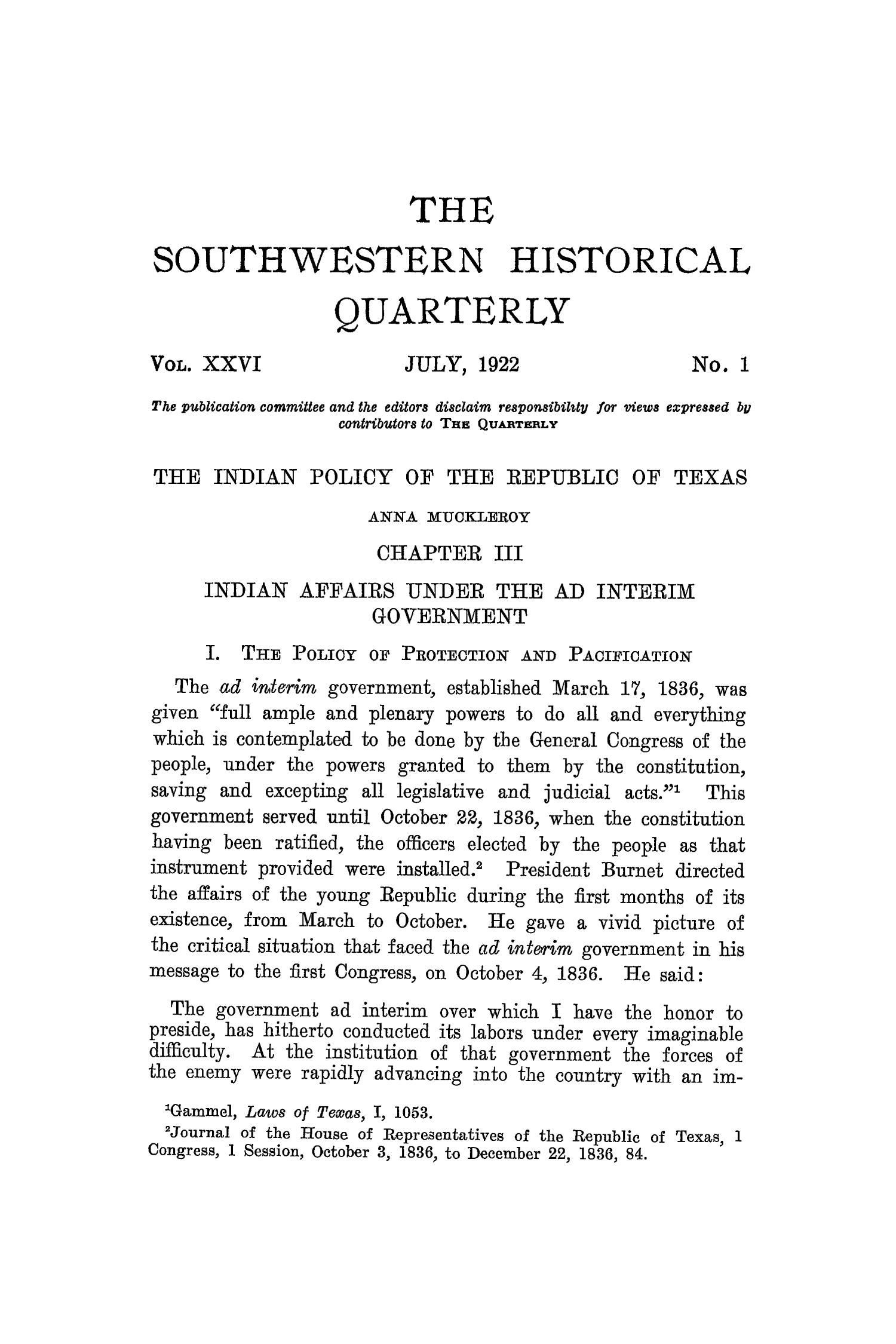 The Southwestern Historical Quarterly, Volume 26, July 1922 - April, 1923                                                                                                      1