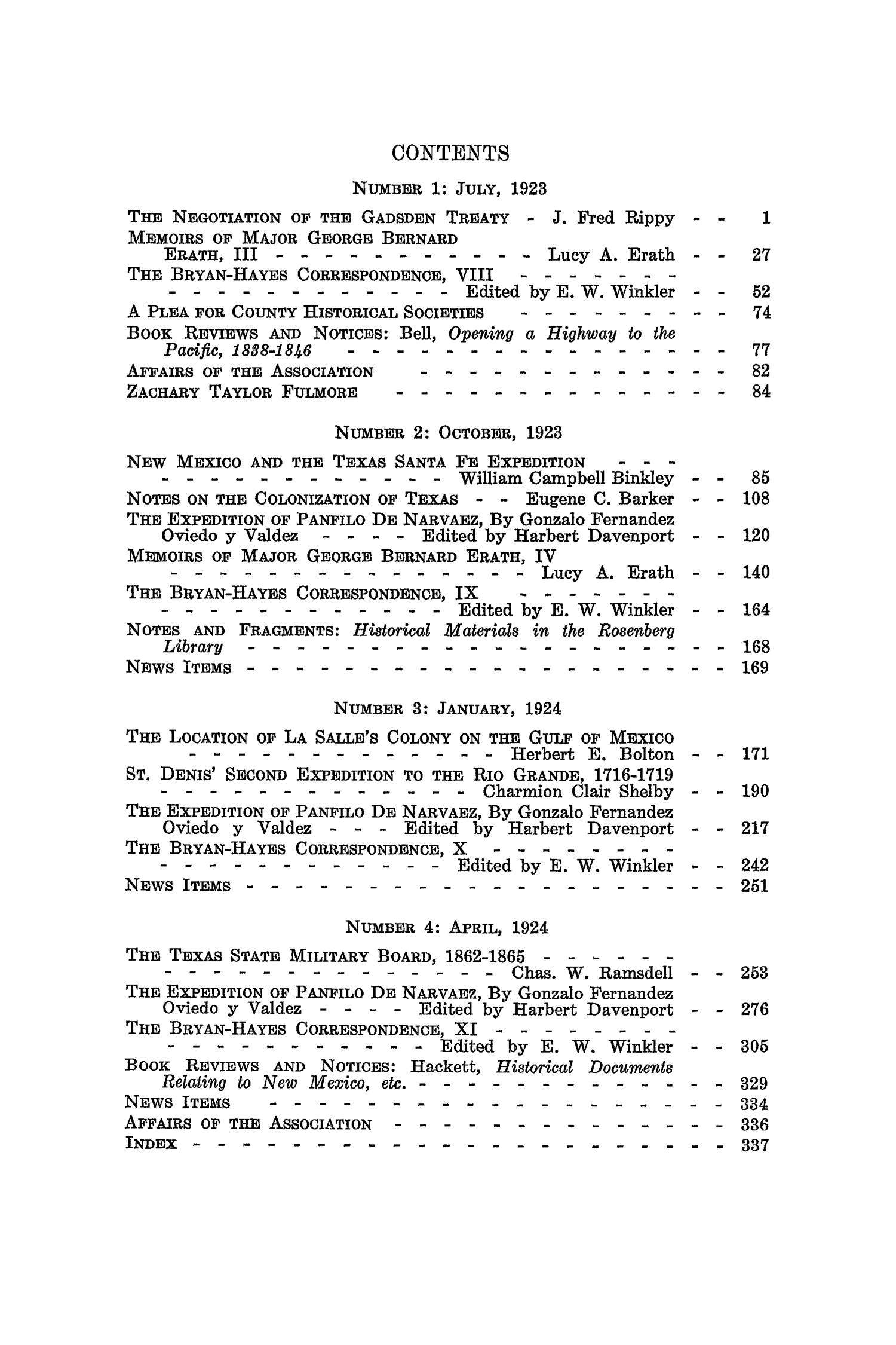The Southwestern Historical Quarterly, Volume 27, July 1923 - April, 1924                                                                                                      None