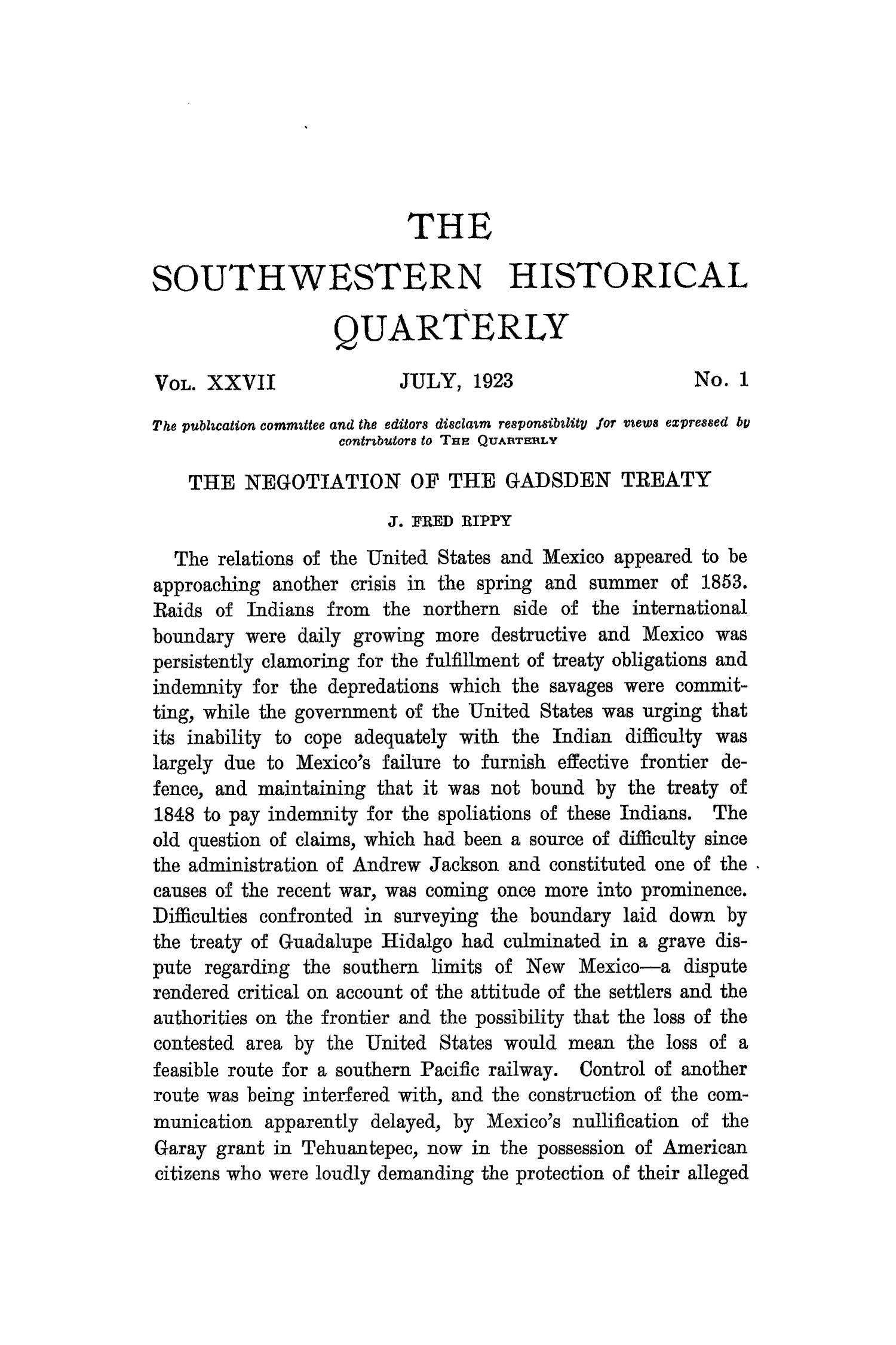 The Southwestern Historical Quarterly, Volume 27, July 1923 - April, 1924                                                                                                      1