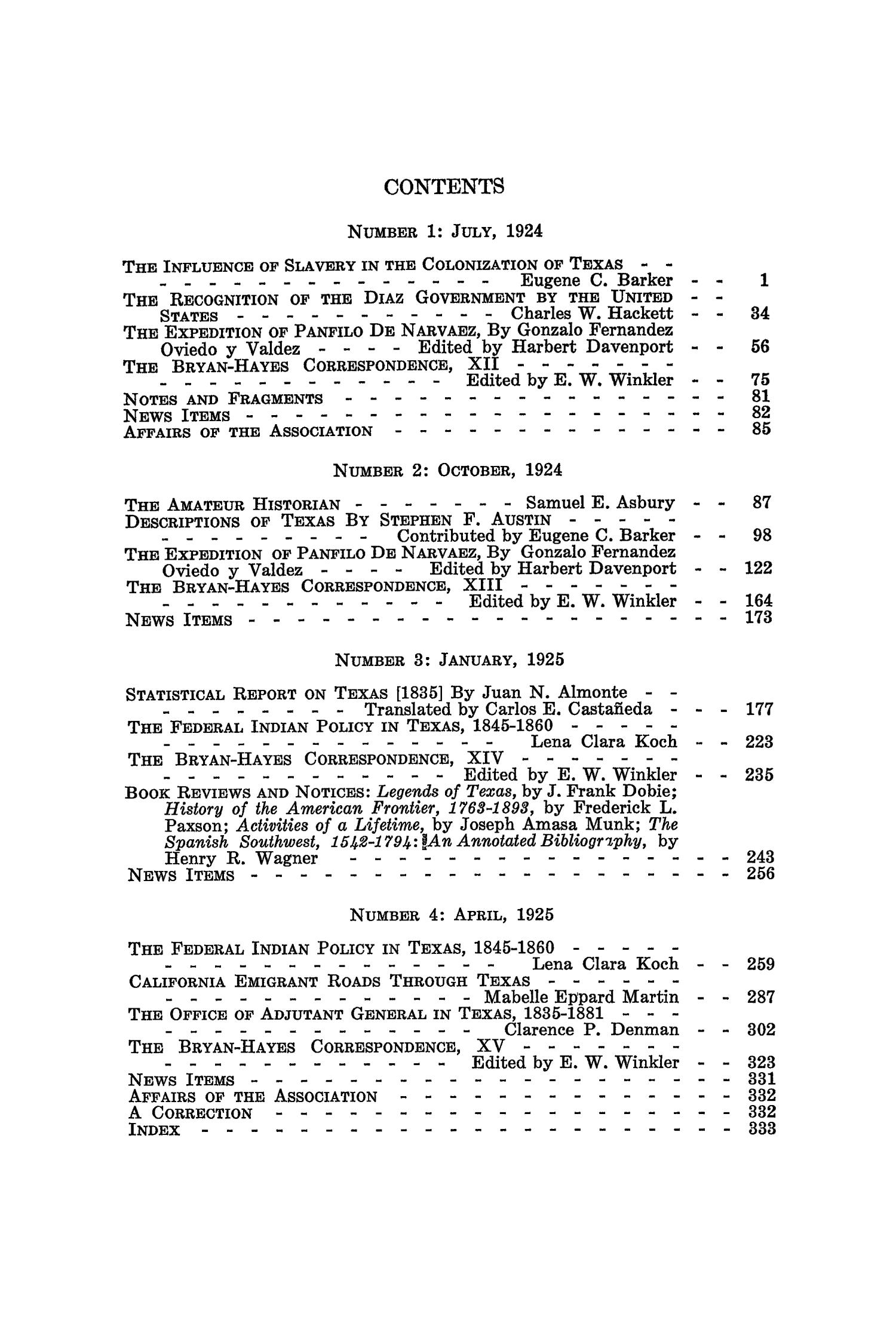 The Southwestern Historical Quarterly, Volume 28, July 1924 - April, 1925                                                                                                      None