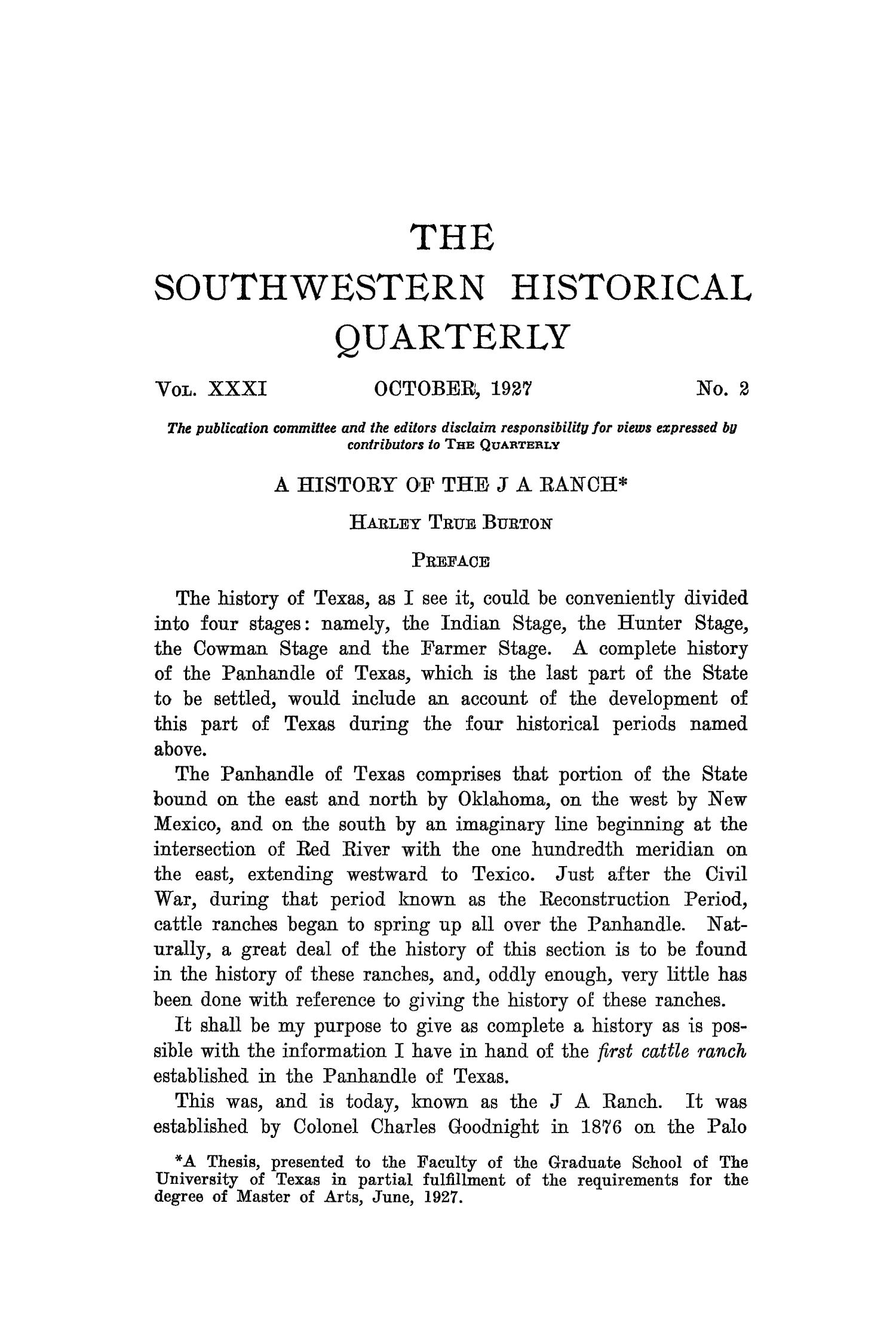 The Southwestern Historical Quarterly, Volume 31, July 1927 - April, 1928                                                                                                      89