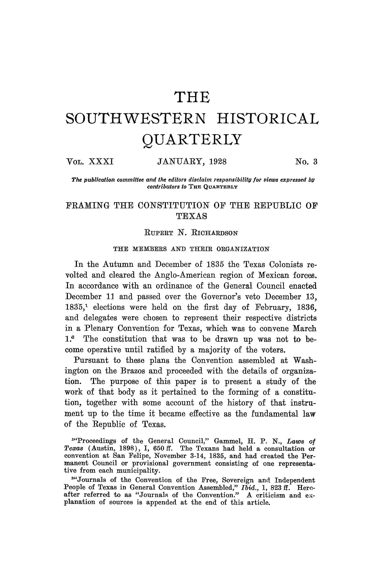 The Southwestern Historical Quarterly, Volume 31, July 1927 - April, 1928                                                                                                      191