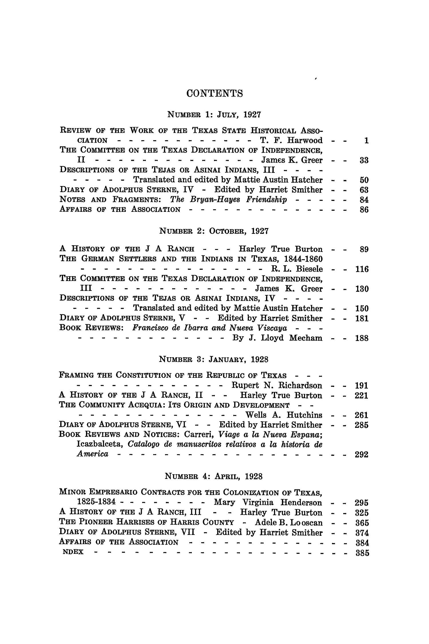 The Southwestern Historical Quarterly, Volume 31, July 1927 - April, 1928                                                                                                      None