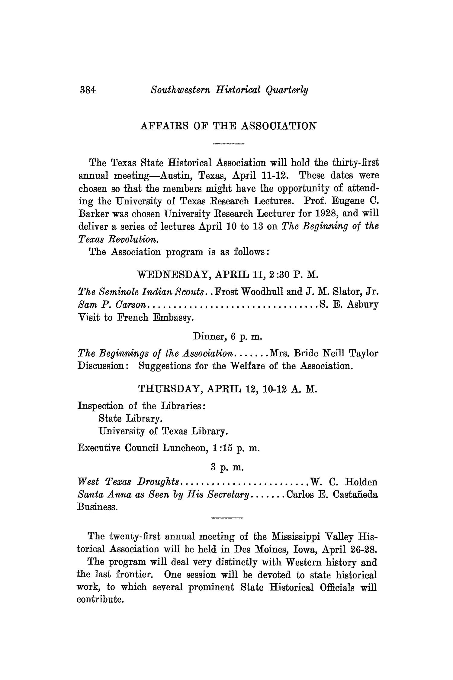 The Southwestern Historical Quarterly, Volume 31, July 1927 - April, 1928                                                                                                      384