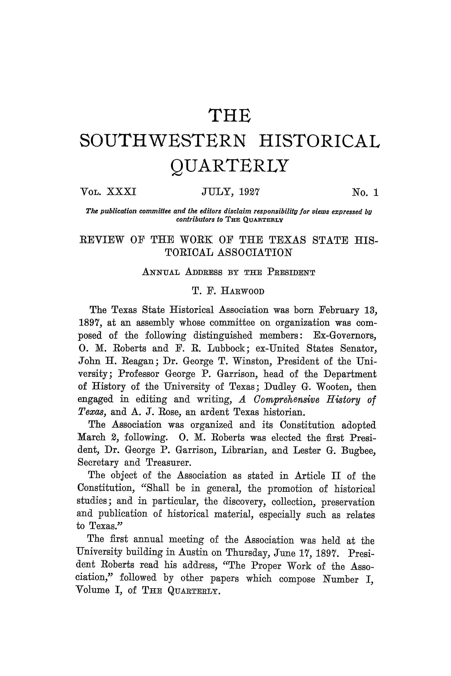The Southwestern Historical Quarterly, Volume 31, July 1927 - April, 1928                                                                                                      3