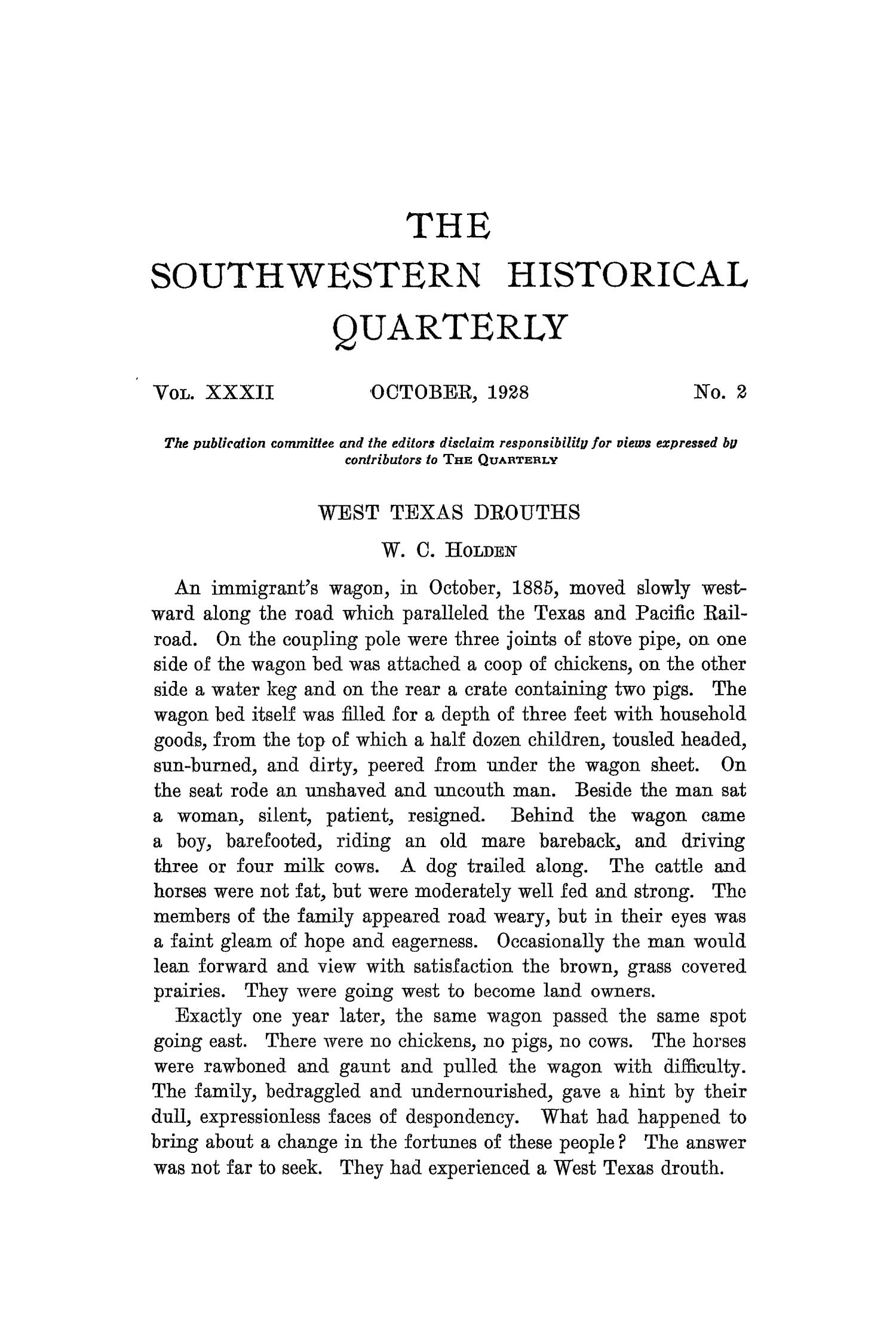 The Southwestern Historical Quarterly, Volume 32, July 1928 - April, 1929                                                                                                      103