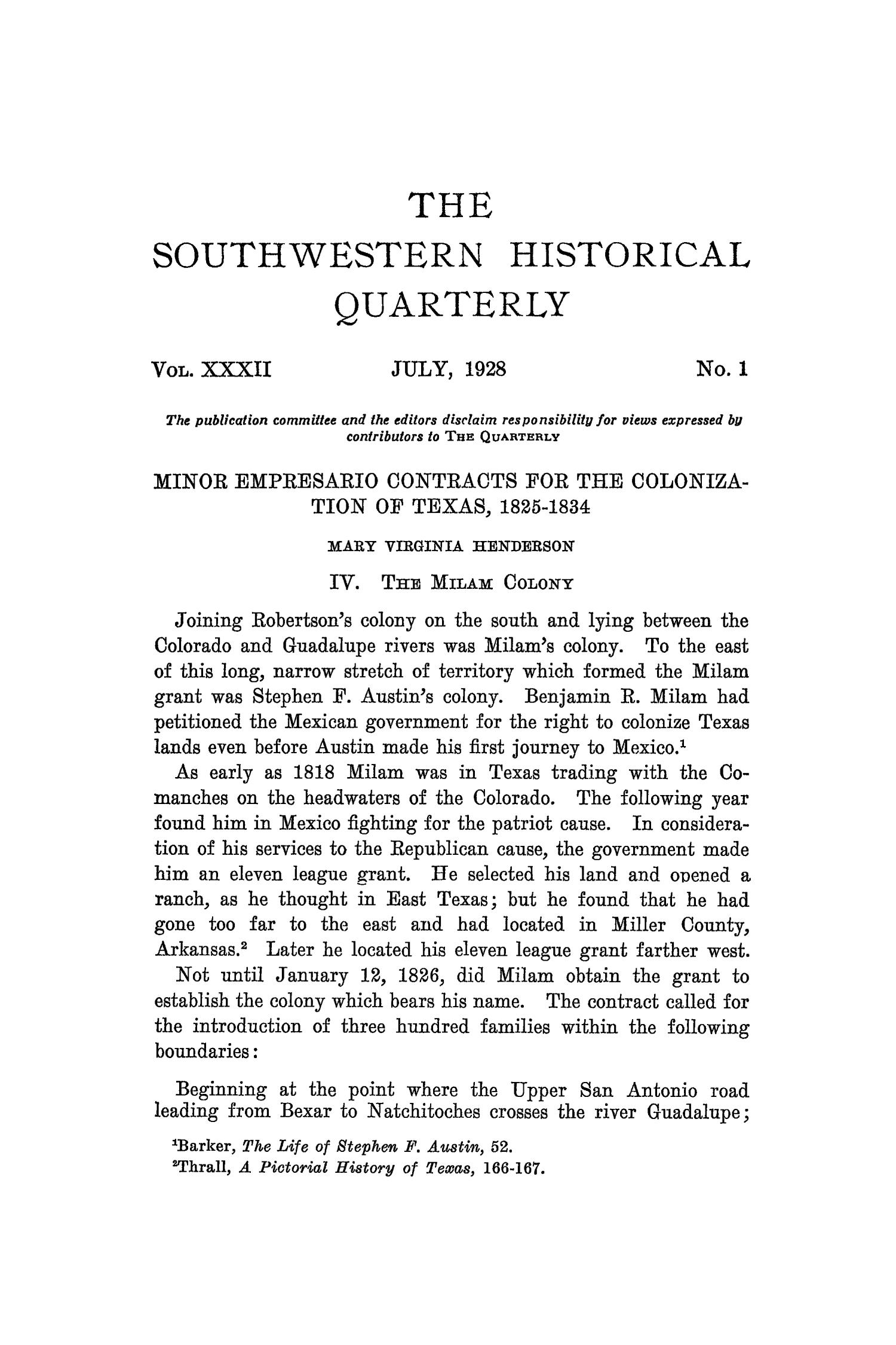The Southwestern Historical Quarterly, Volume 32, July 1928 - April, 1929                                                                                                      1